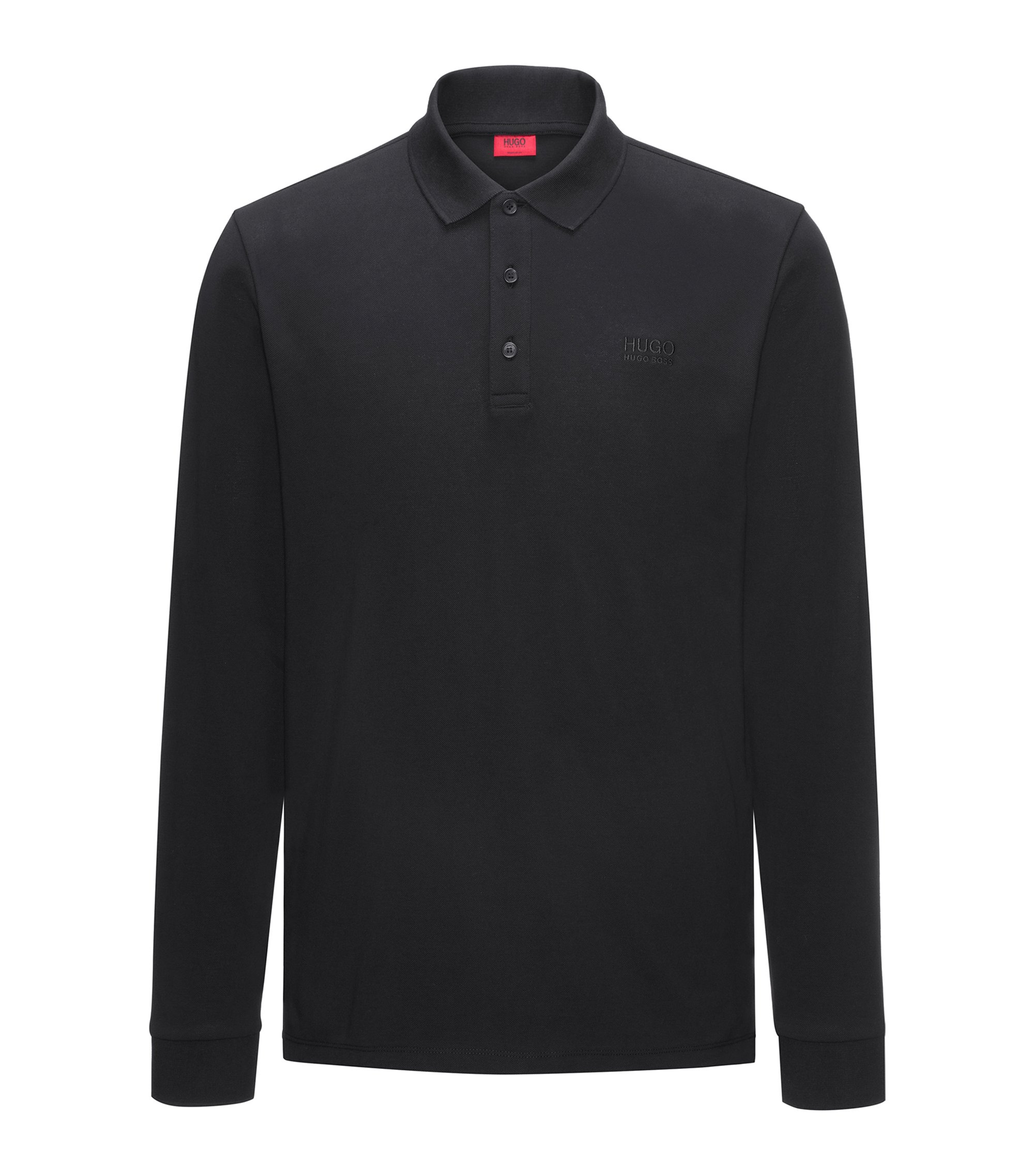 Polo regular fit de manga larga en piqué de algodón, Negro