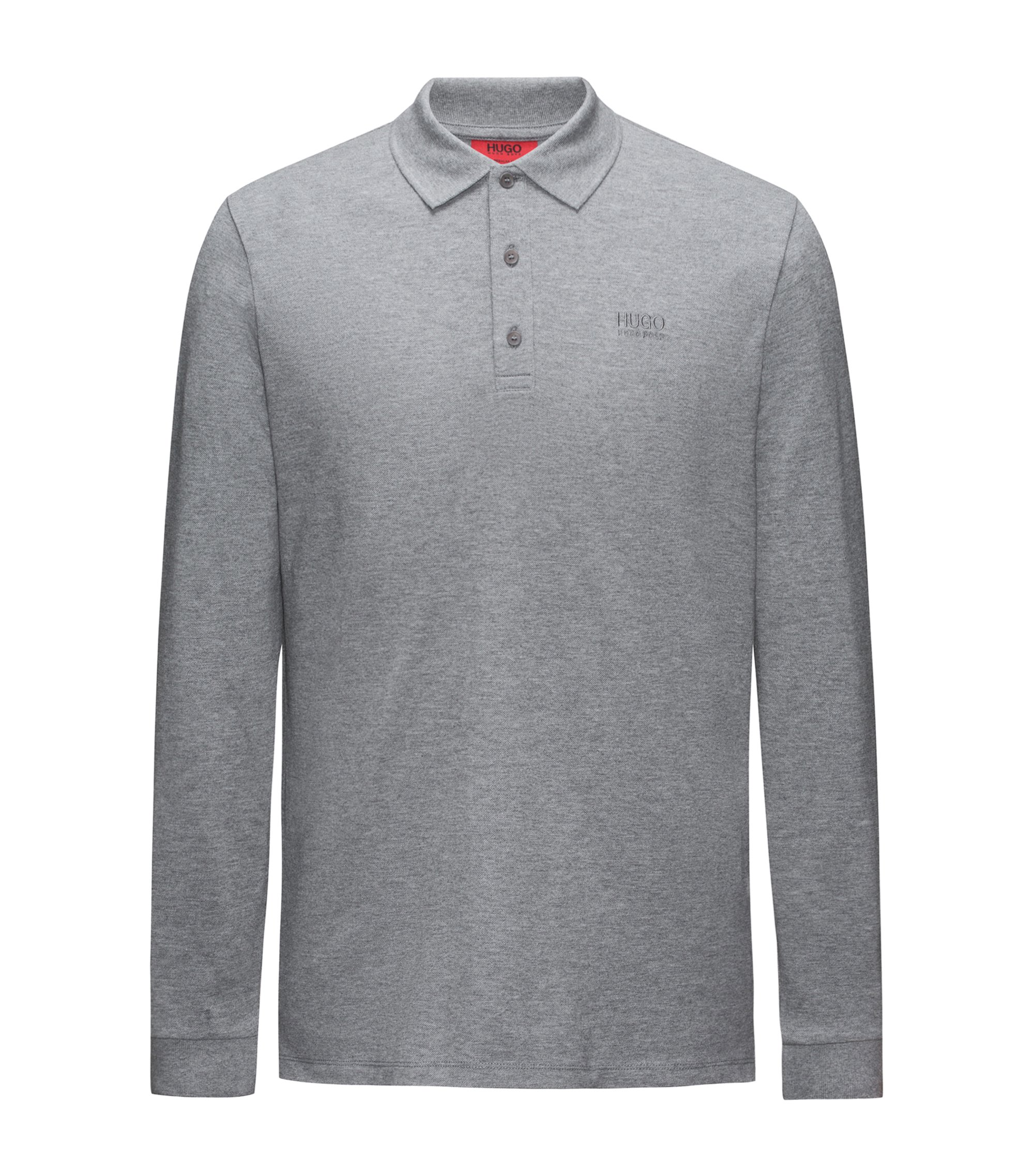 Regular-fit long-sleeved polo shirt in cotton piqué, Grey