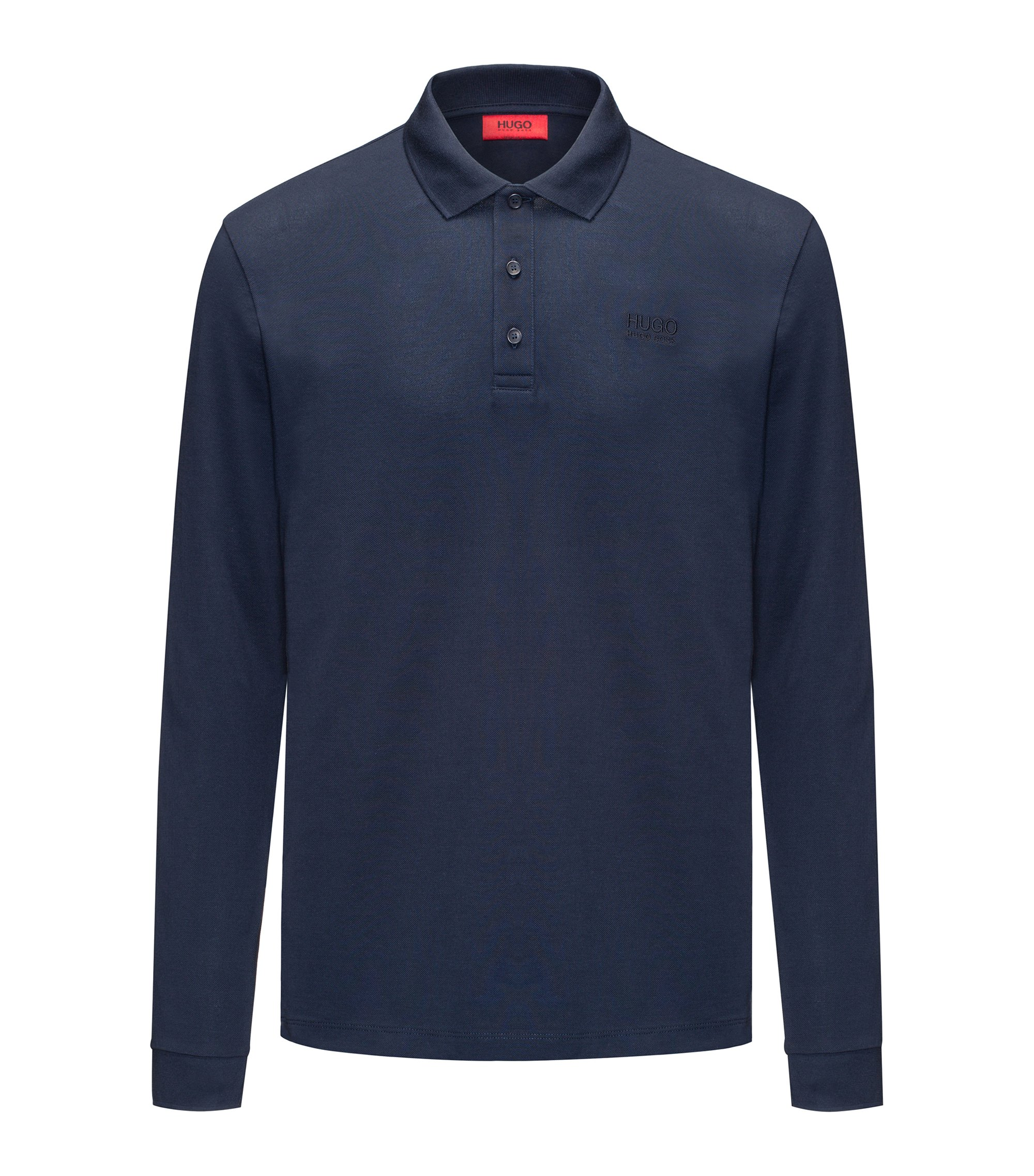 Polo a maniche lunghe regular fit in piqué di cotone, Blu scuro