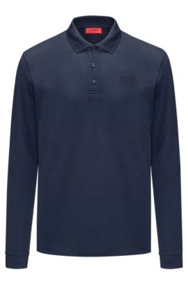 Regular-fit long-sleeved polo shirt in cotton piqué, Dark Blue