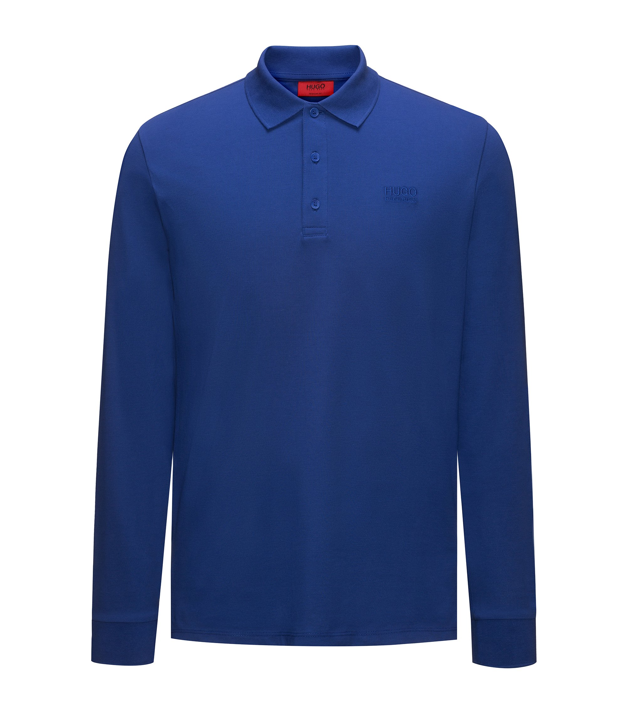 Regular-fit long-sleeved polo shirt in cotton piqué, Blue