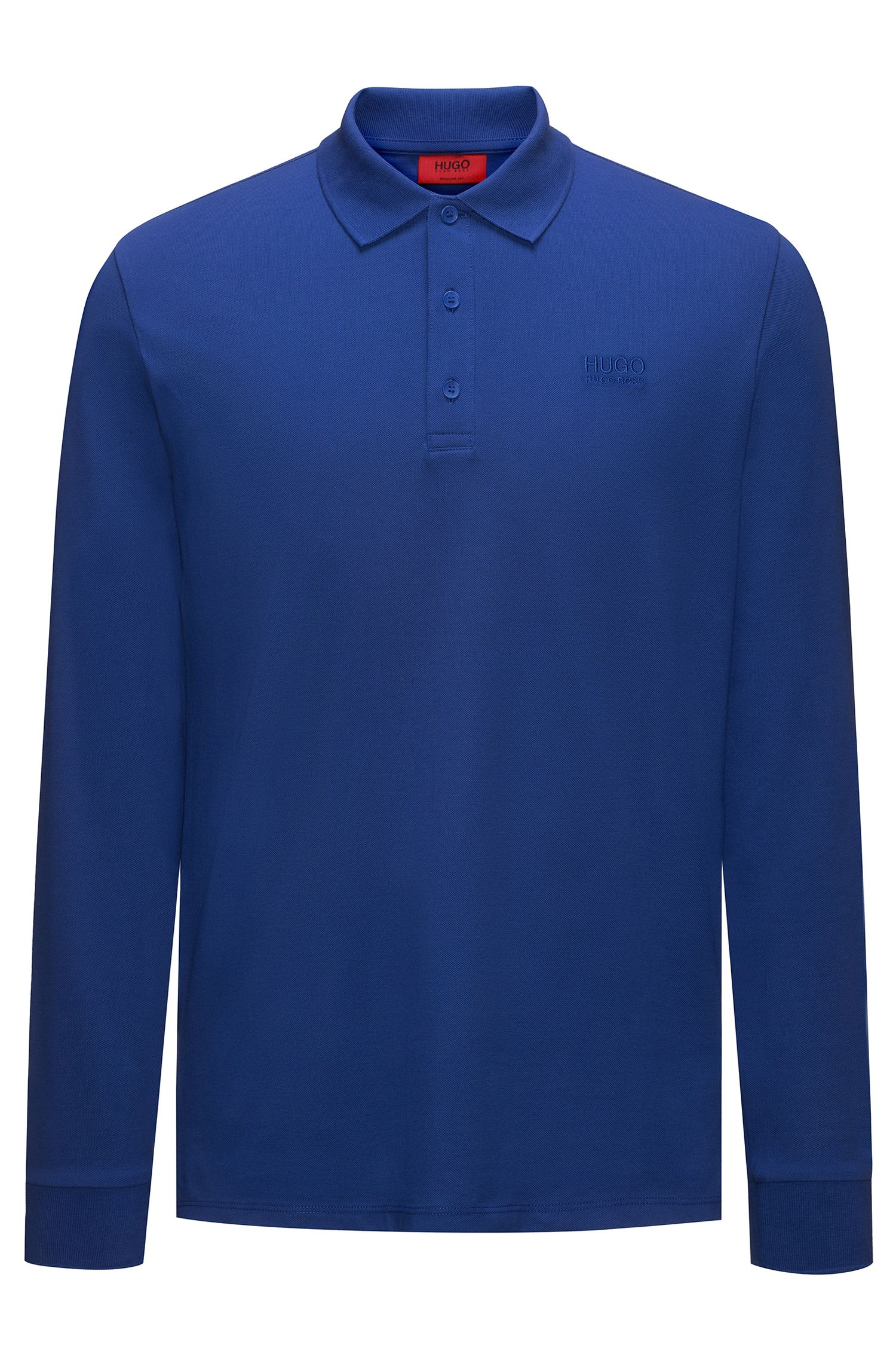 Regular-fit long-sleeved polo shirt in cotton piqué