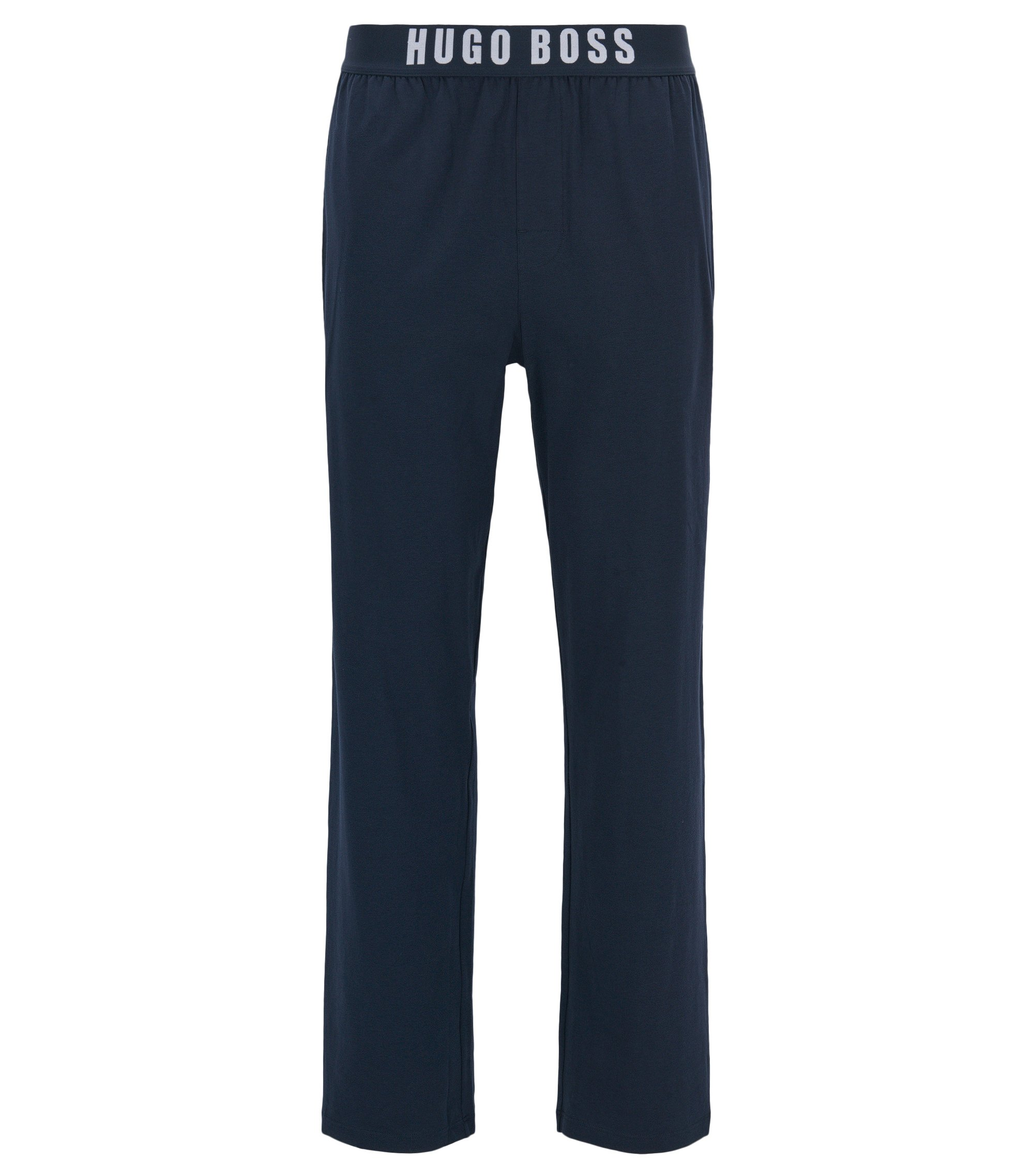 Pyjama trousers in stretch cotton jersey, Dark Blue
