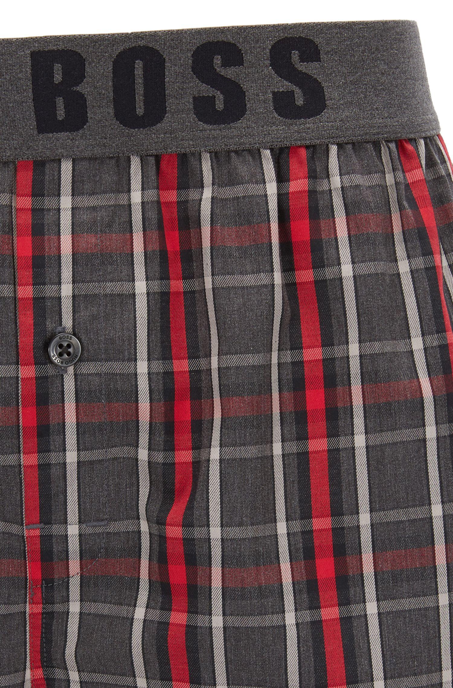 Karierte Pyjama-Shorts aus Baumwolle mit geknöpftem Eingriff