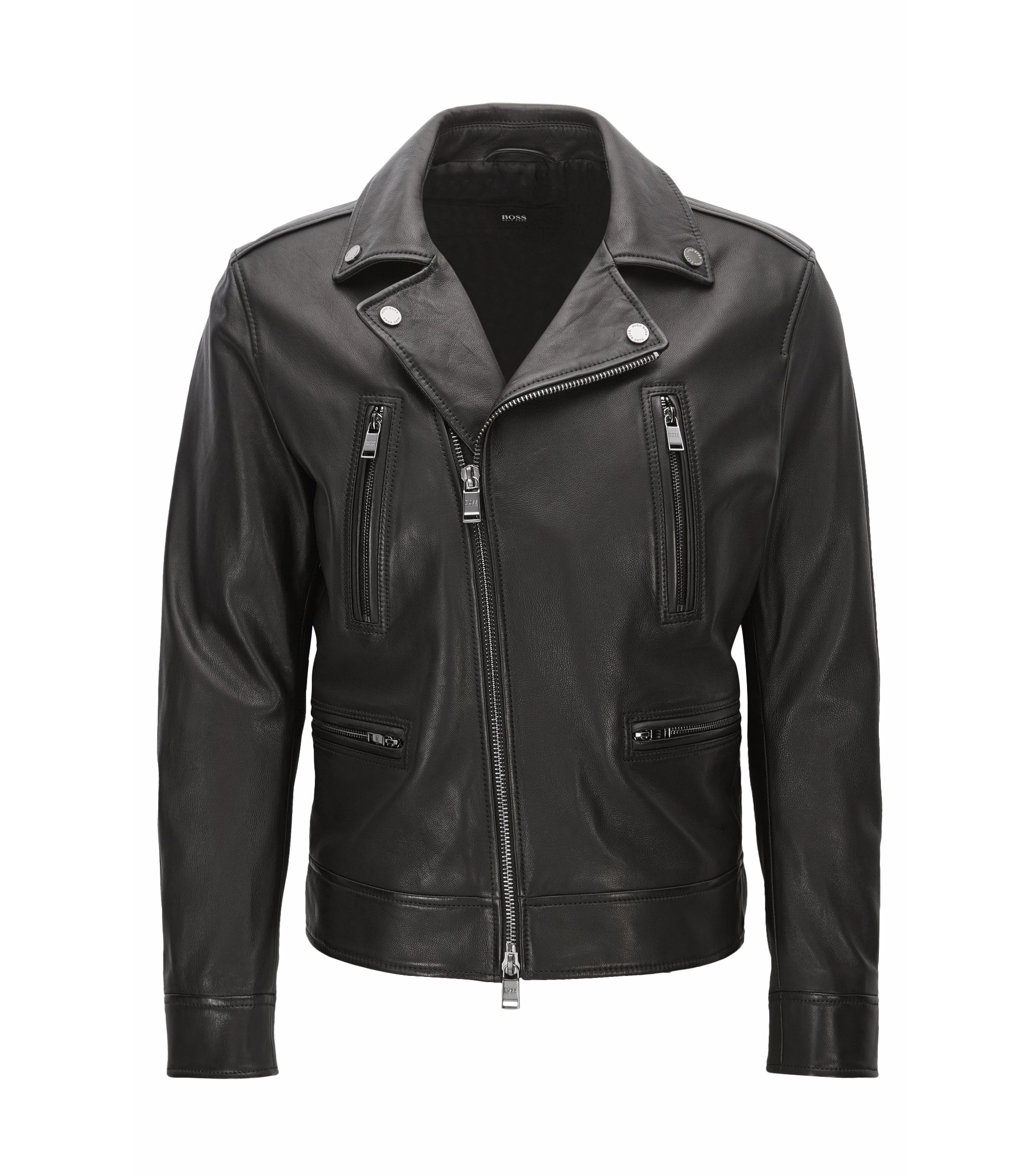 Giubbotto biker slim fit in pelle, Nero