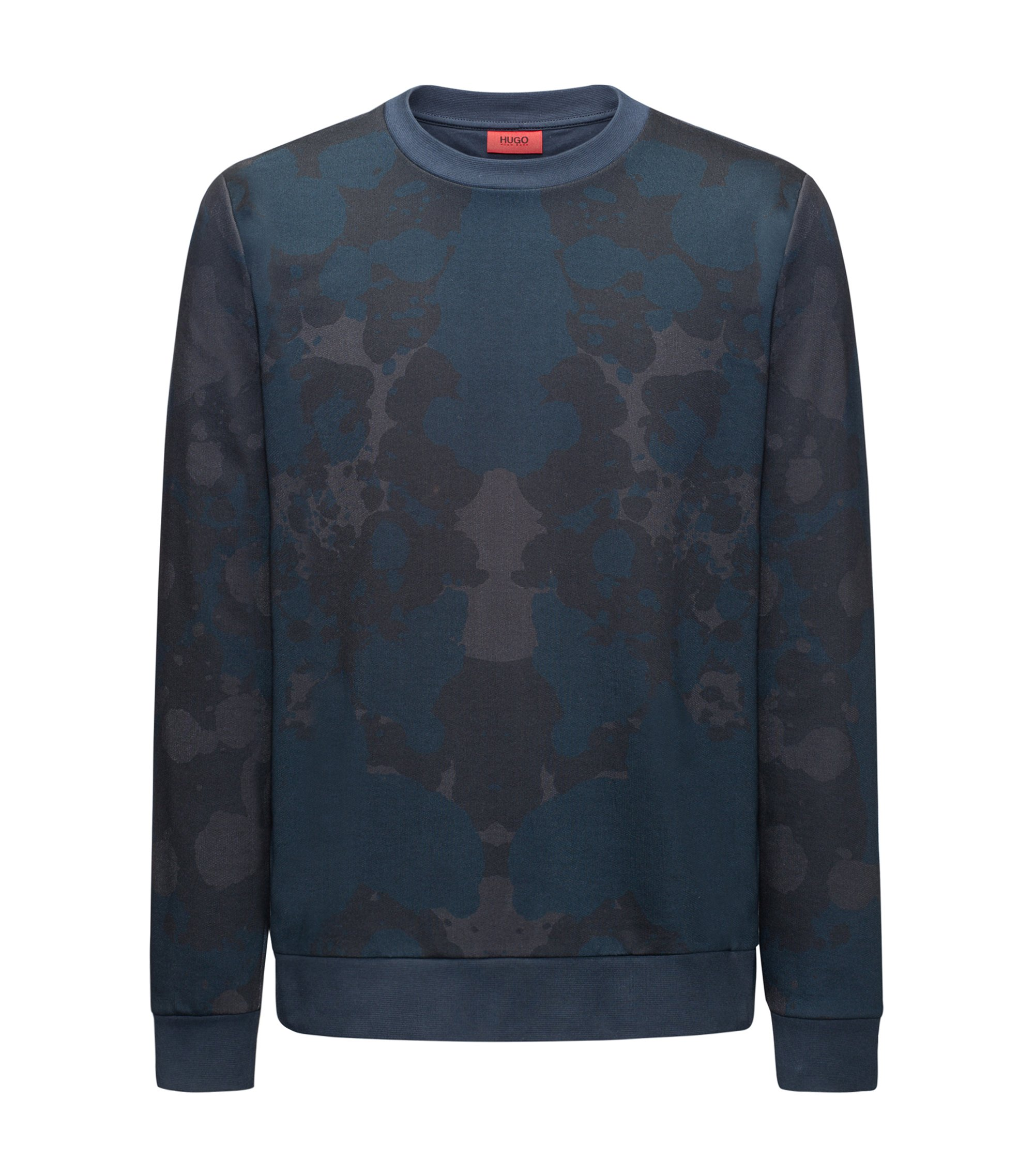 Printed crew-neck sweatshirt in French terry, Dark Blue