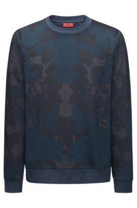 Sweatshirt van badstof met ronde hals en print, Donkerblauw