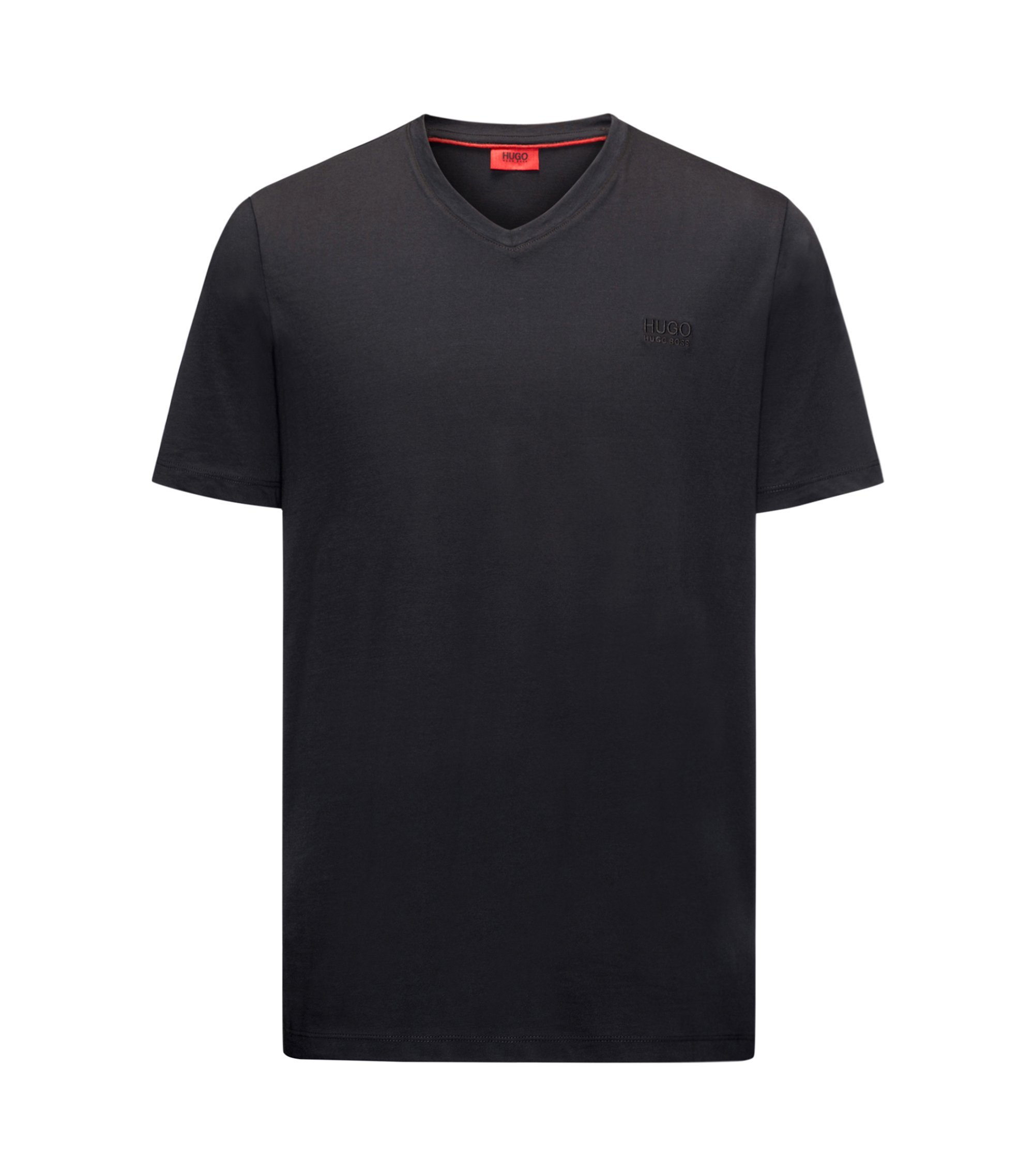T-shirt regular fit con scollo a V in jersey di cotone con logo stampato, Nero