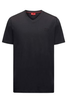 Regular-Fit T-Shirt aus Baumwoll-Jersey mit V-Ausschnitt und Logo-Schriftzug, Schwarz