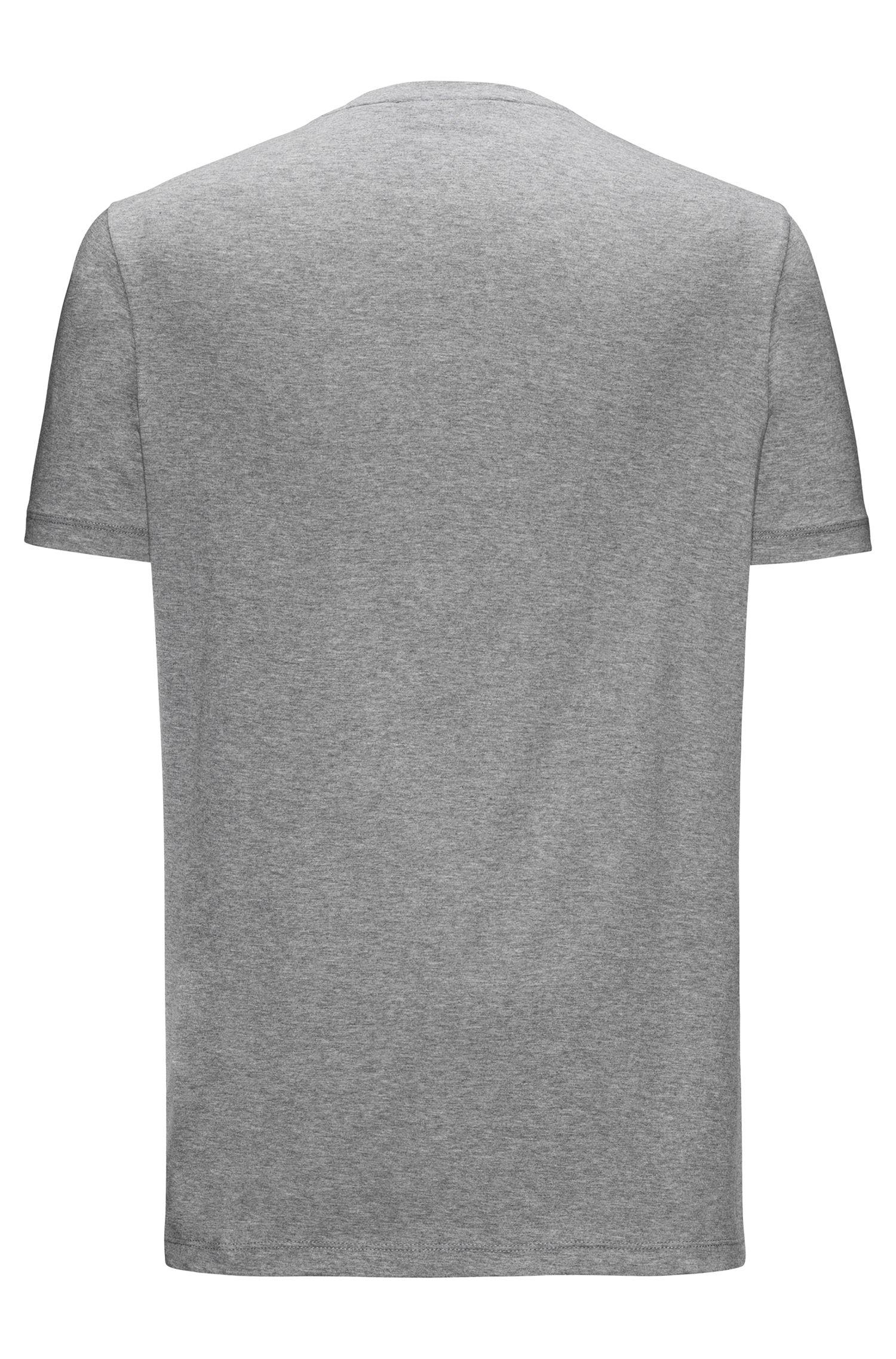 Regular-fit T-shirt van katoenjersey met V-hals en logoprint