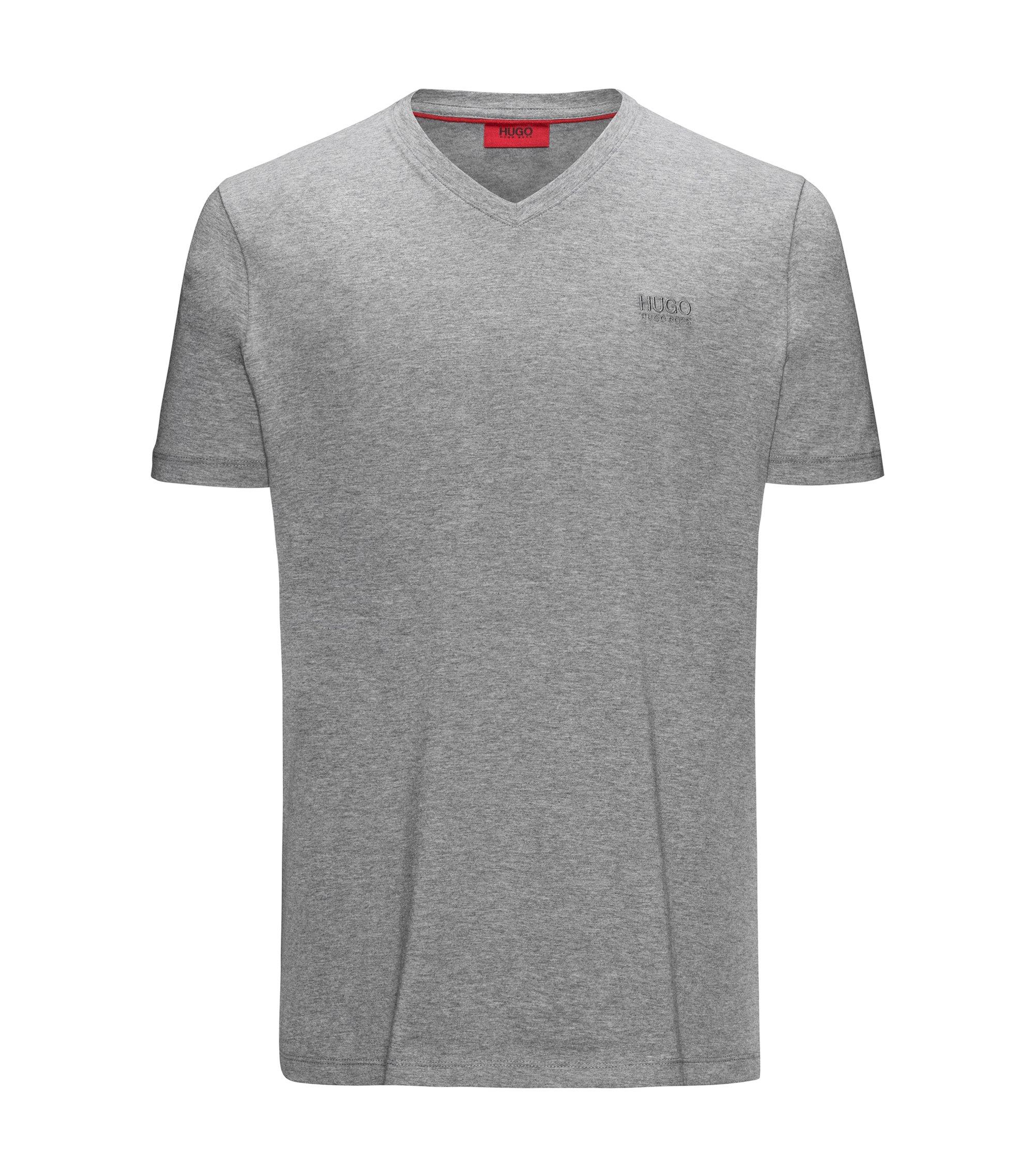 Camiseta regular fit en punto de algodón con logo estampado y escote en pico, Gris