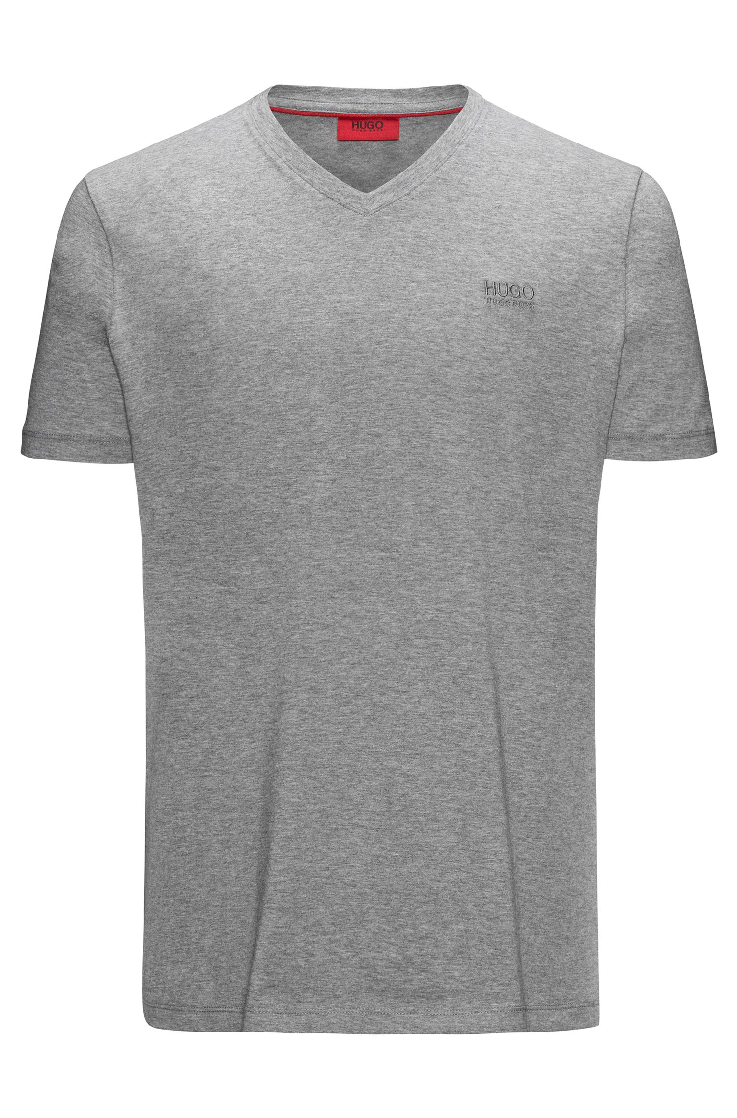 Regular-fit V-neck T-shirt in cotton jersey with logo print