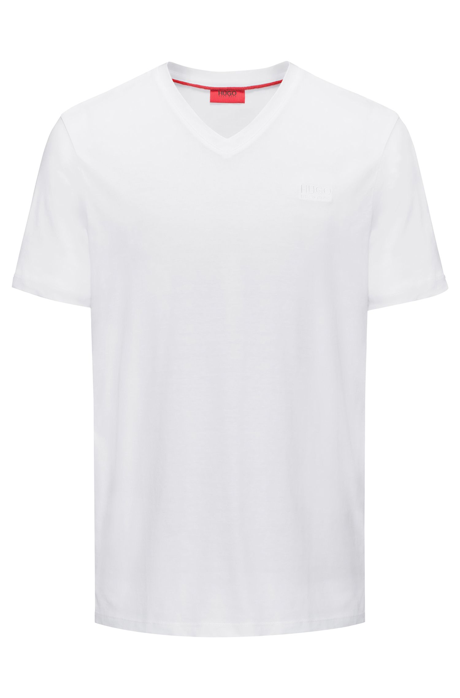 Regular-fit T-shirt van katoenjersey met V-hals en logoprint