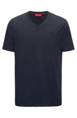 Regular-fit V-neck T-shirt in cotton jersey with logo print, Dark Blue