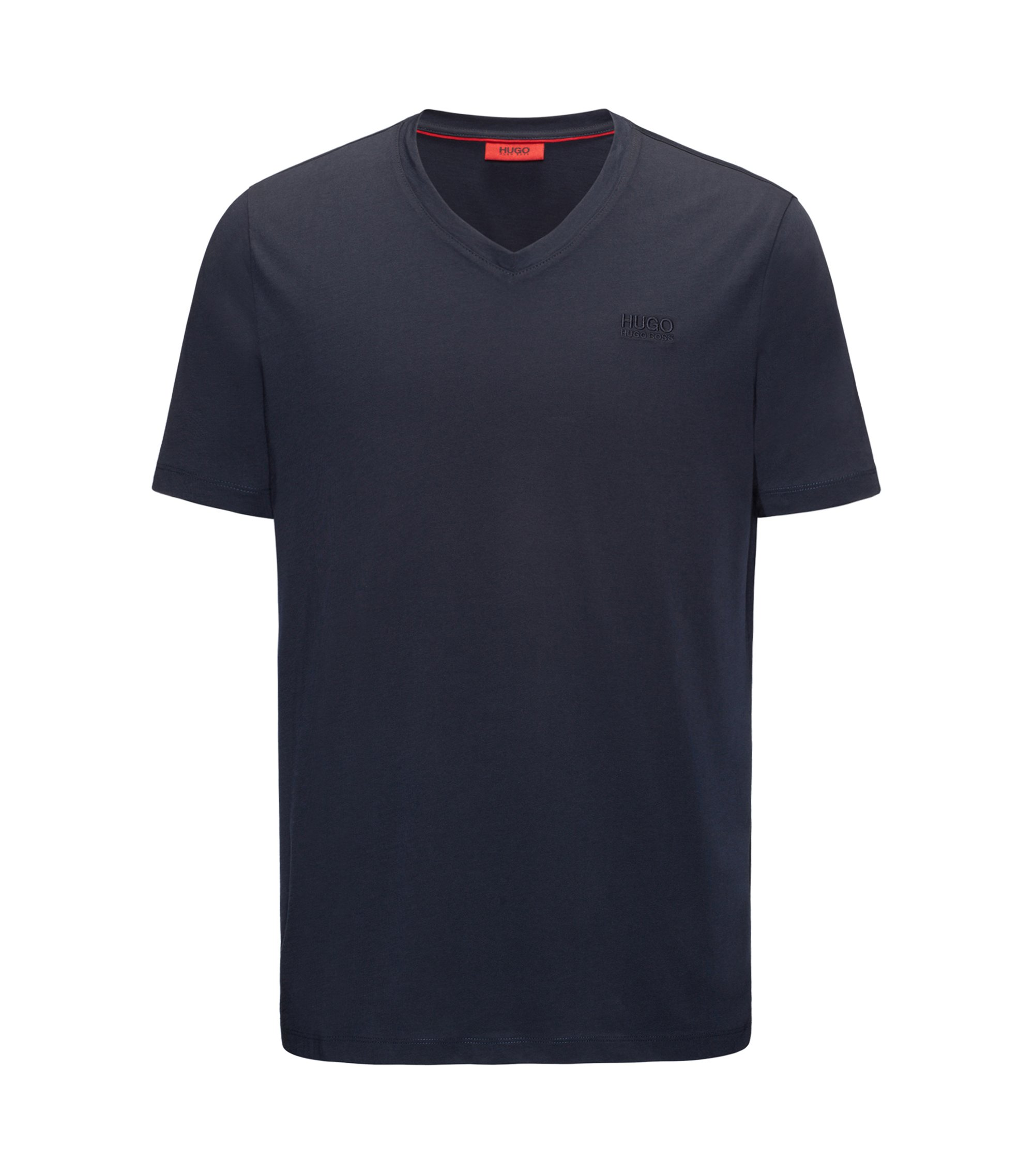 T-shirt regular fit con scollo a V in jersey di cotone con logo stampato, Blu scuro
