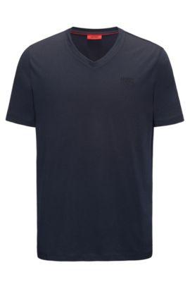 Regular-fit T-shirt van katoenjersey met V-hals en logoprint, Donkerblauw