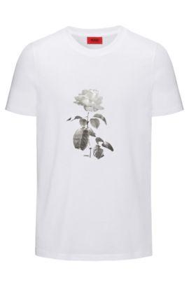 Regular-fit T-shirt van katoen met bloemenprint, Wit