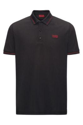 Polo Regular Fit en coton avec bordure contrastante, Noir