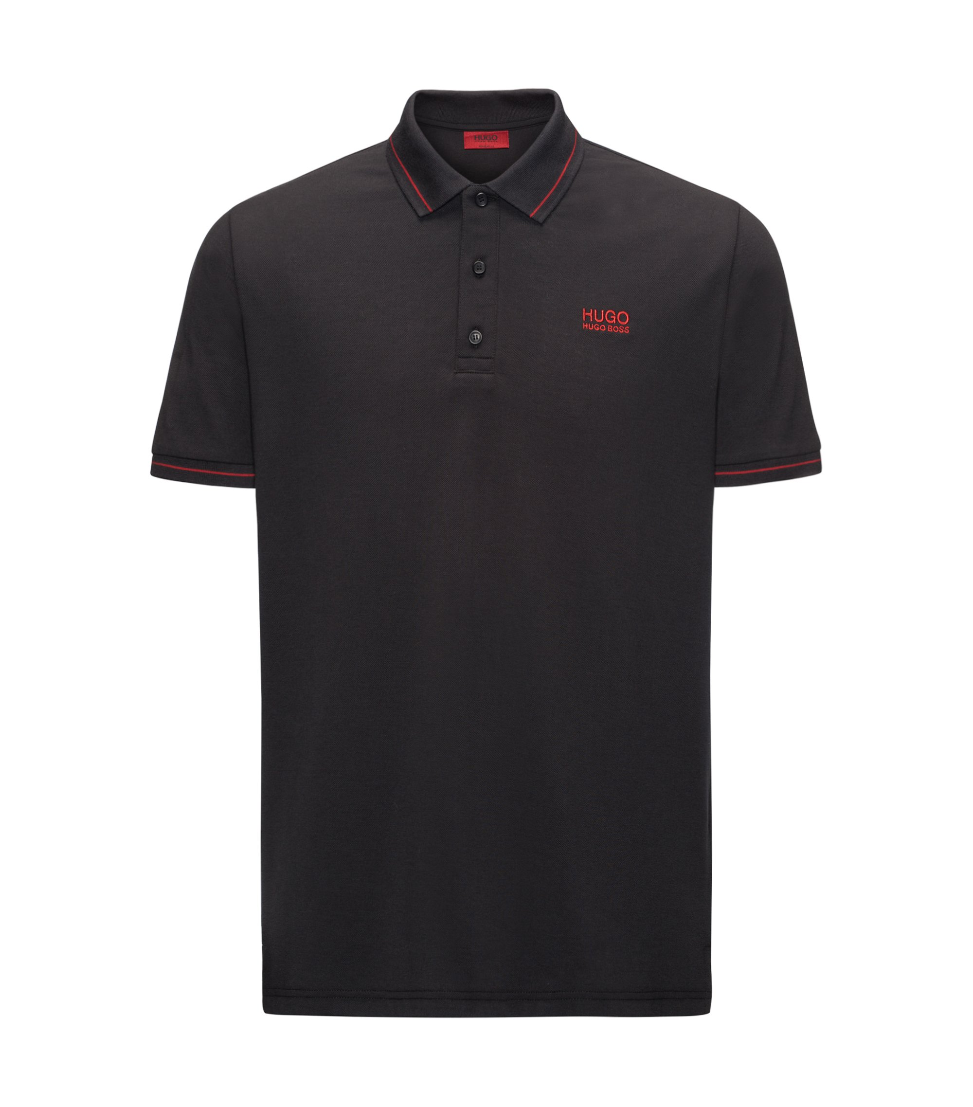 Polo Regular Fit en coton avec bordure contrastante, Noir