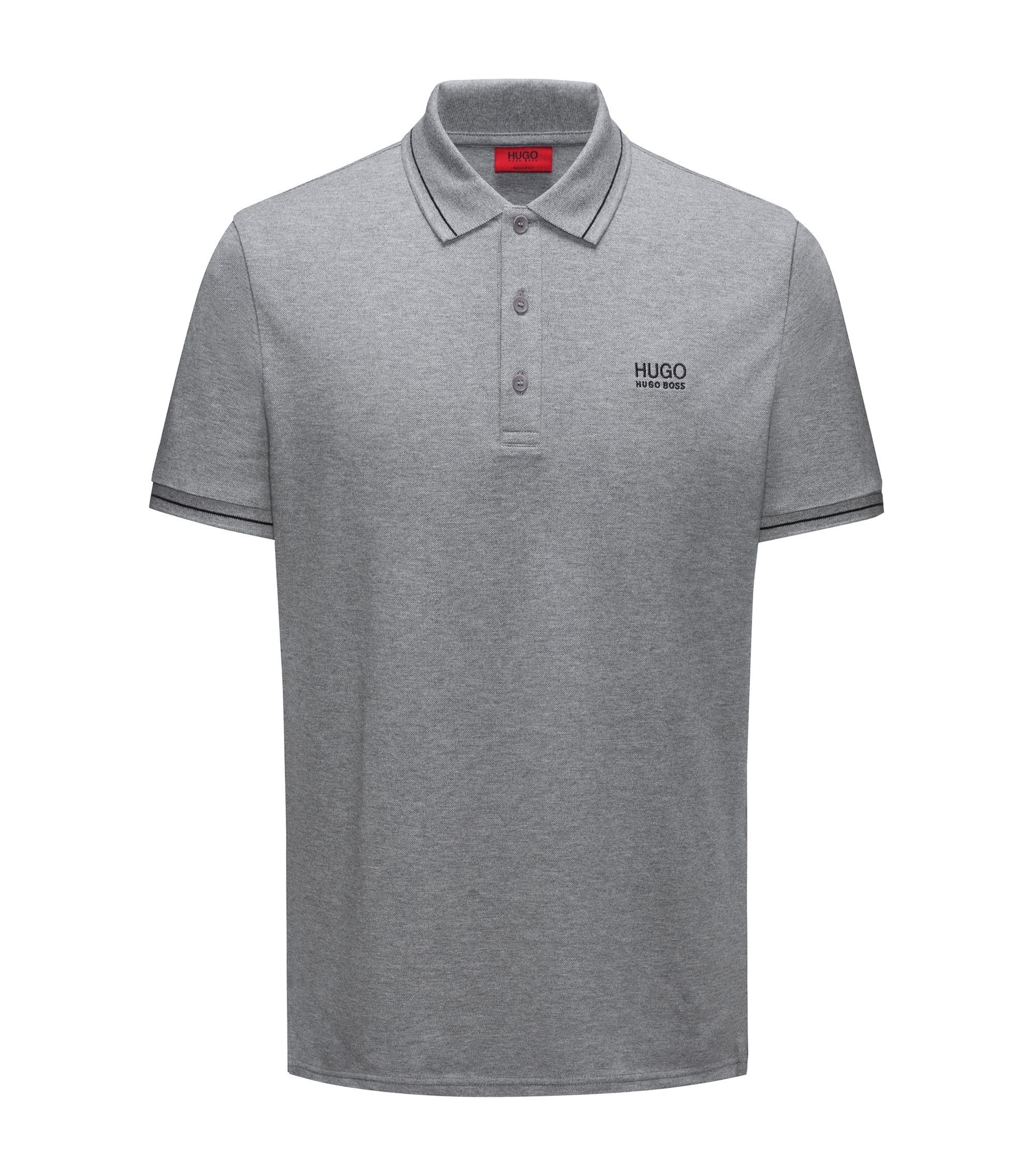 Polo Regular Fit en coton avec bordure contrastante, Gris
