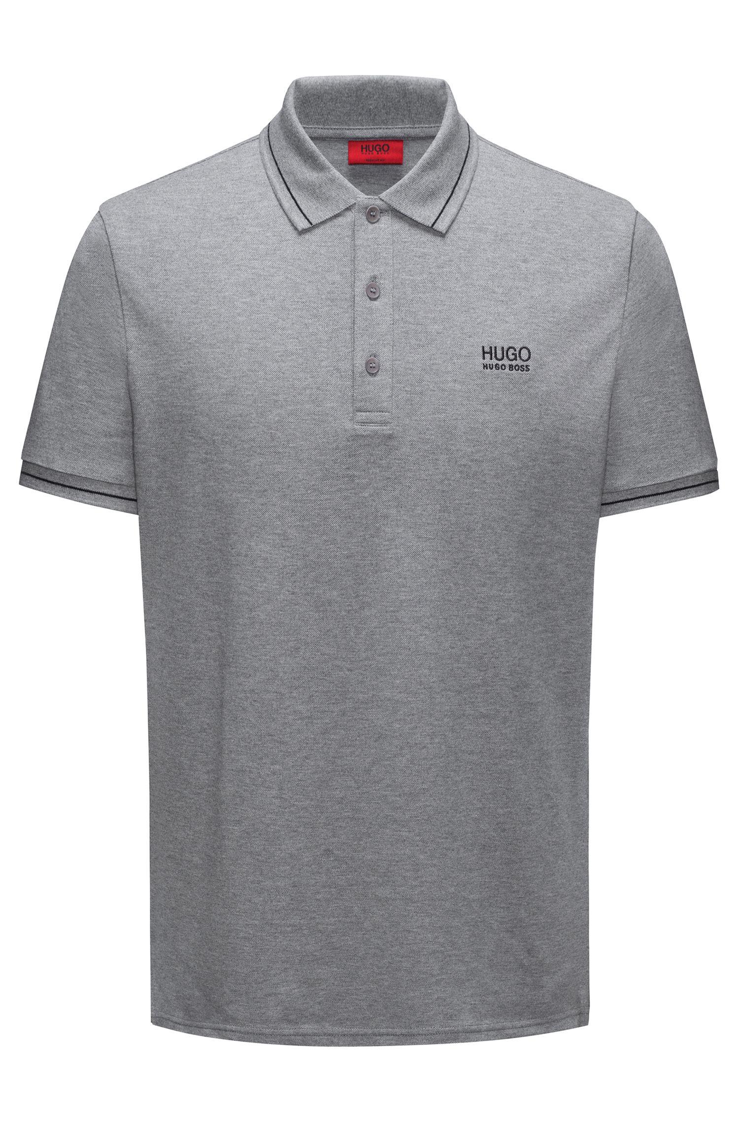 Regular-Fit Poloshirt aus Baumwolle mit Kontrast-Streifen