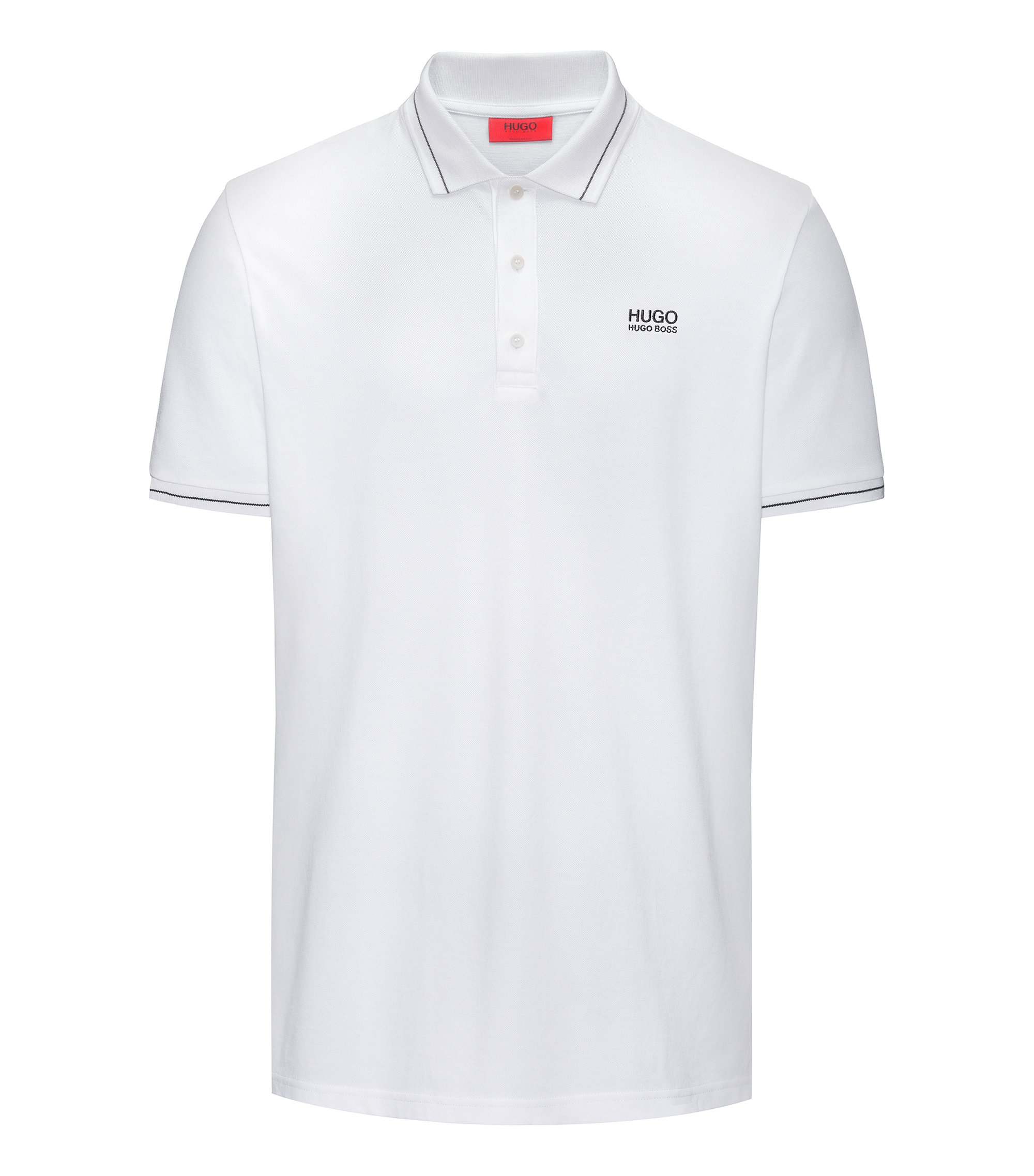 Regular-fit cotton polo shirt with contrast tipping, White