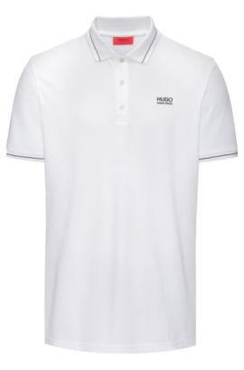 Regular-Fit Poloshirt aus Baumwolle mit Kontrast-Streifen, Weiß