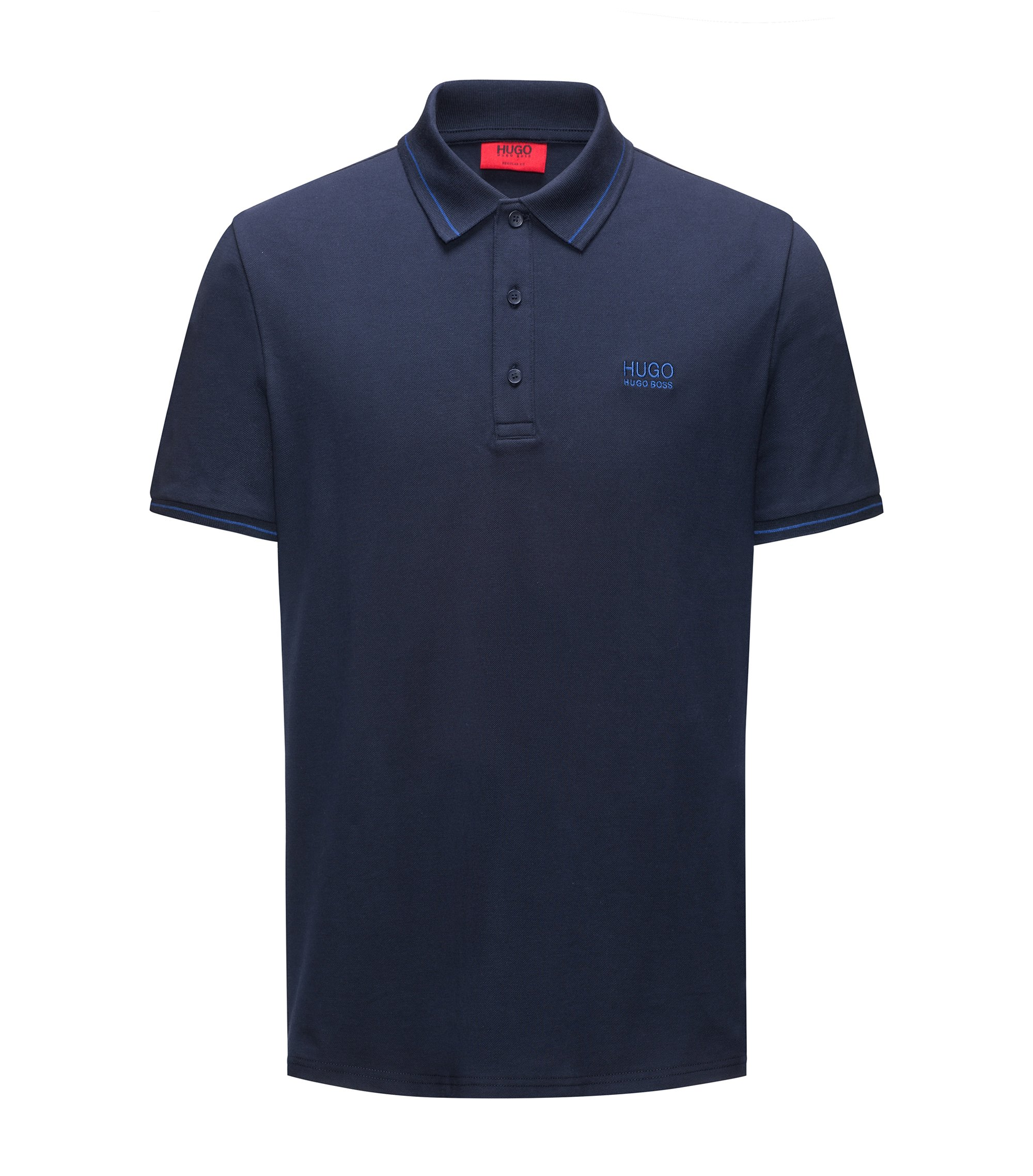 Regular-Fit Poloshirt aus Baumwolle mit Kontrast-Streifen, Dunkelblau