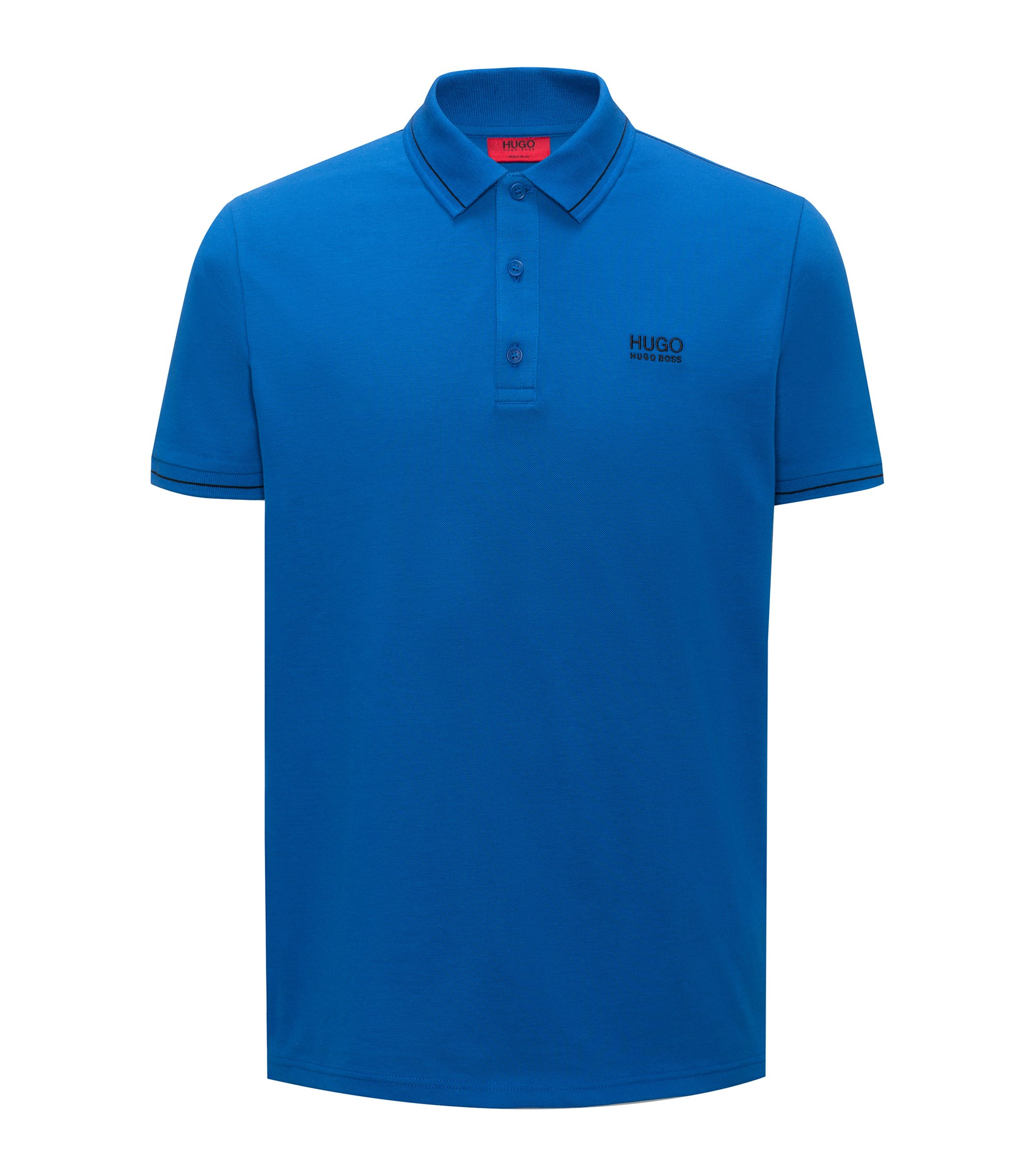 Polo in cotone regular fit con motivi a contrasto, Celeste
