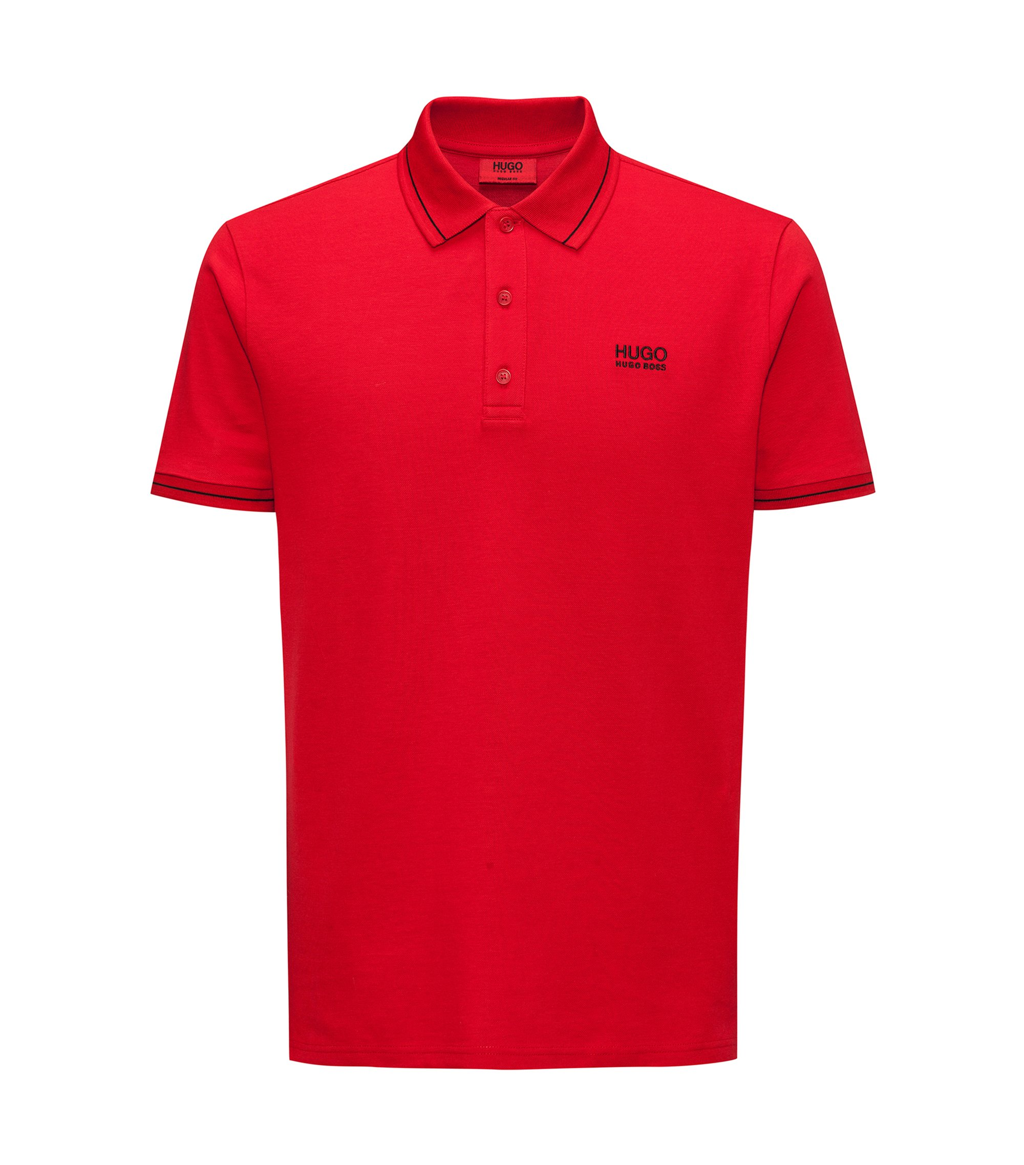 Polo Regular Fit en coton avec bordure contrastante, Rouge