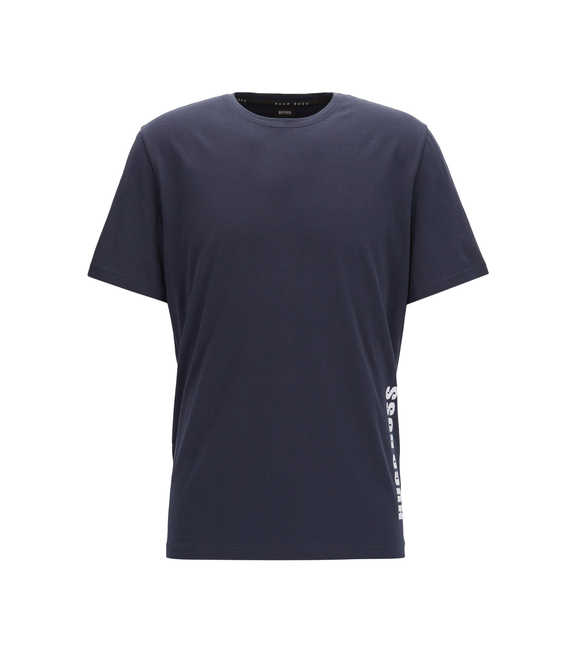 Regular-fit pyjama T-shirt in single jersey, Dark Blue