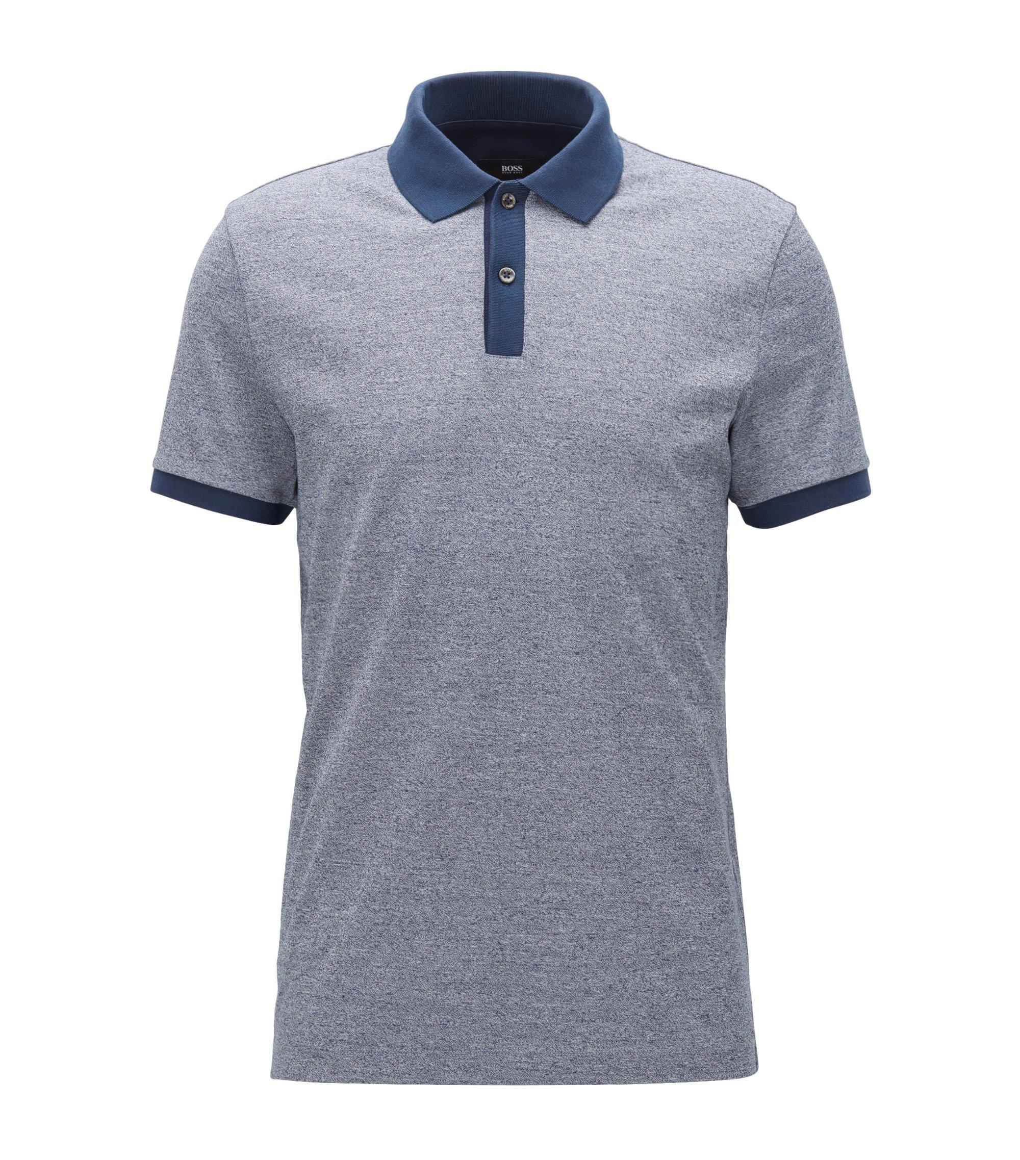 Slim-fit polo shirt in mouliné cotton, Dark Blue