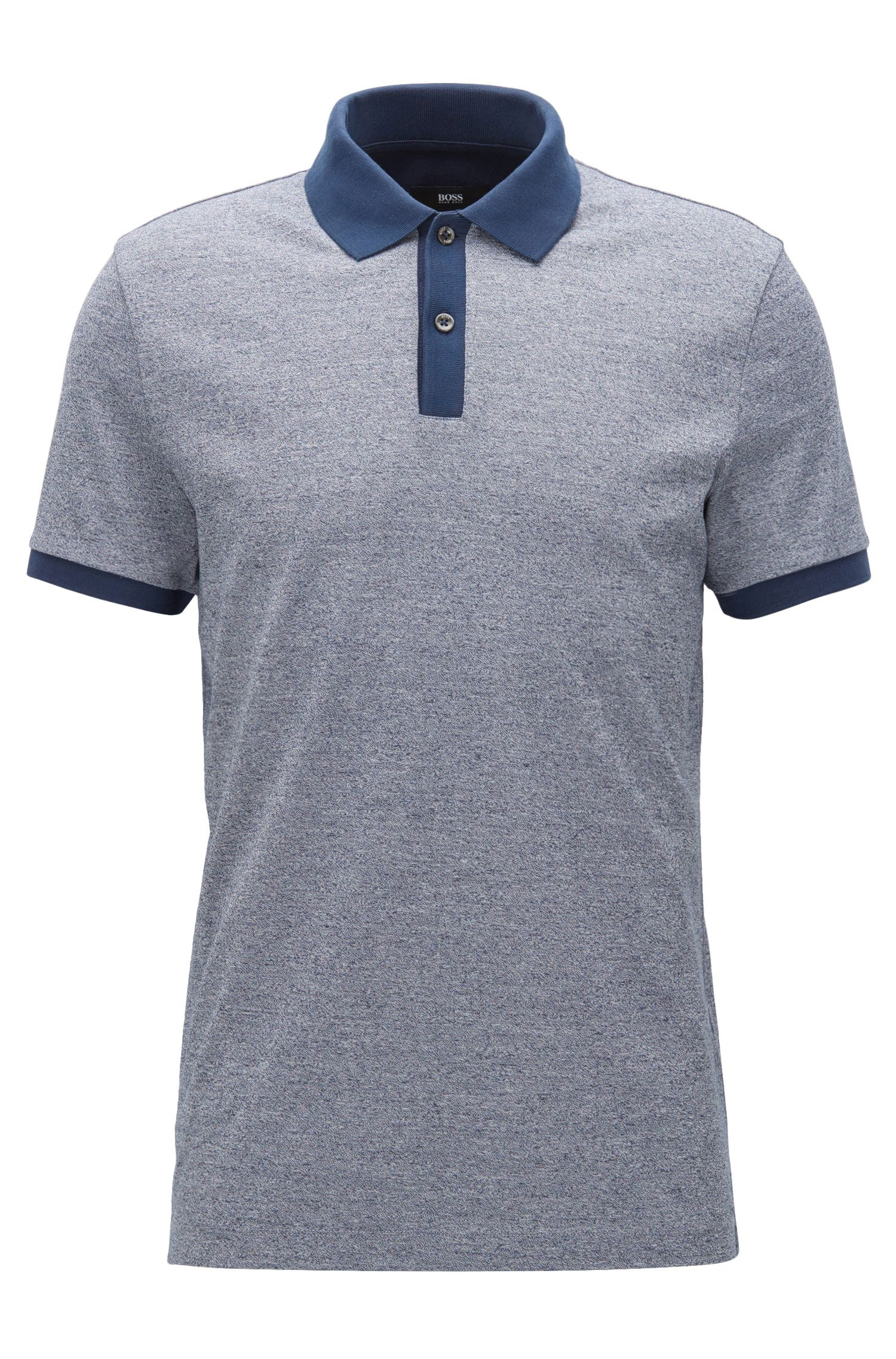 Polo slim fit en algodón mouliné