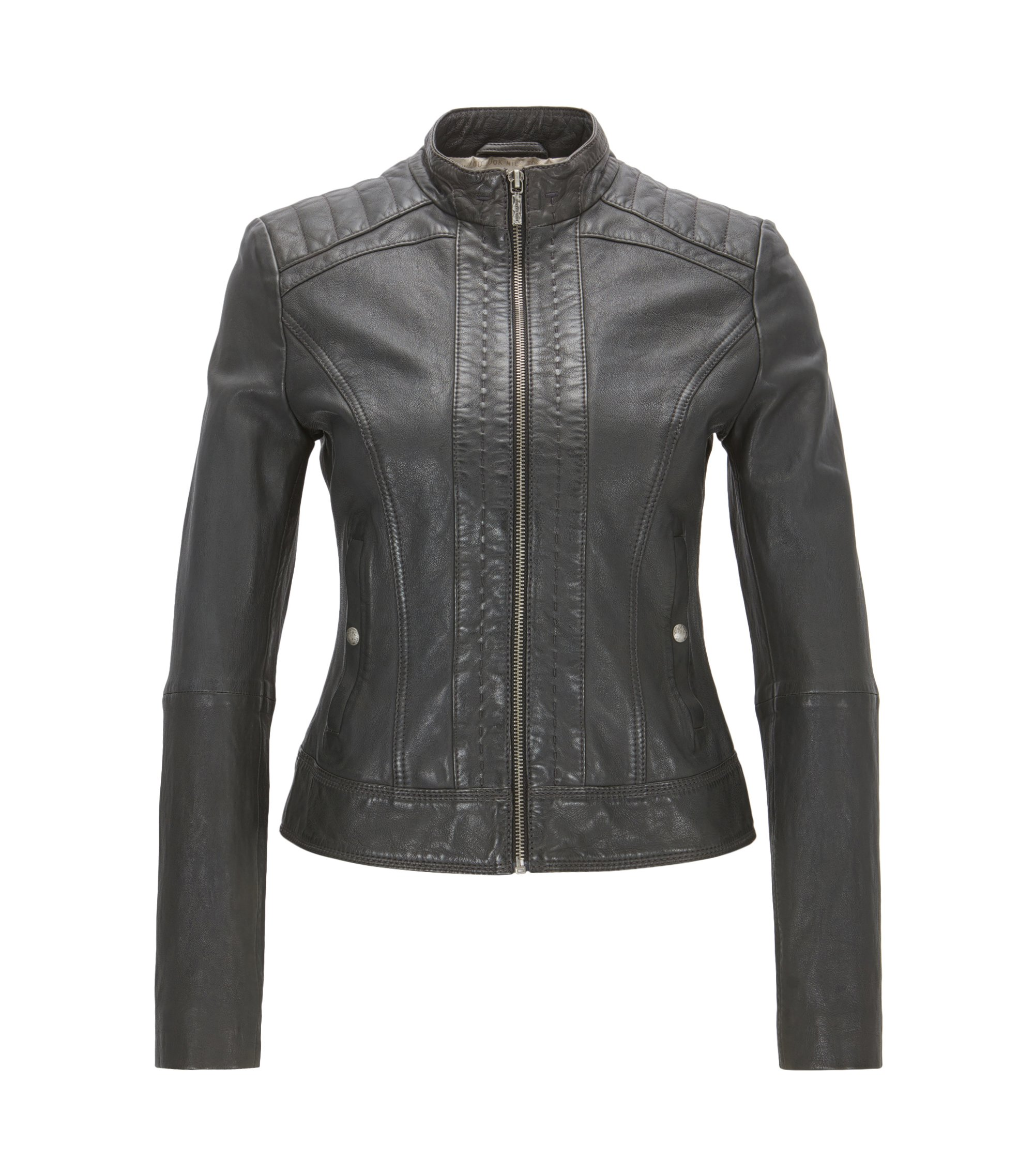 Symmetrical leather jacket in a slim fit, Black