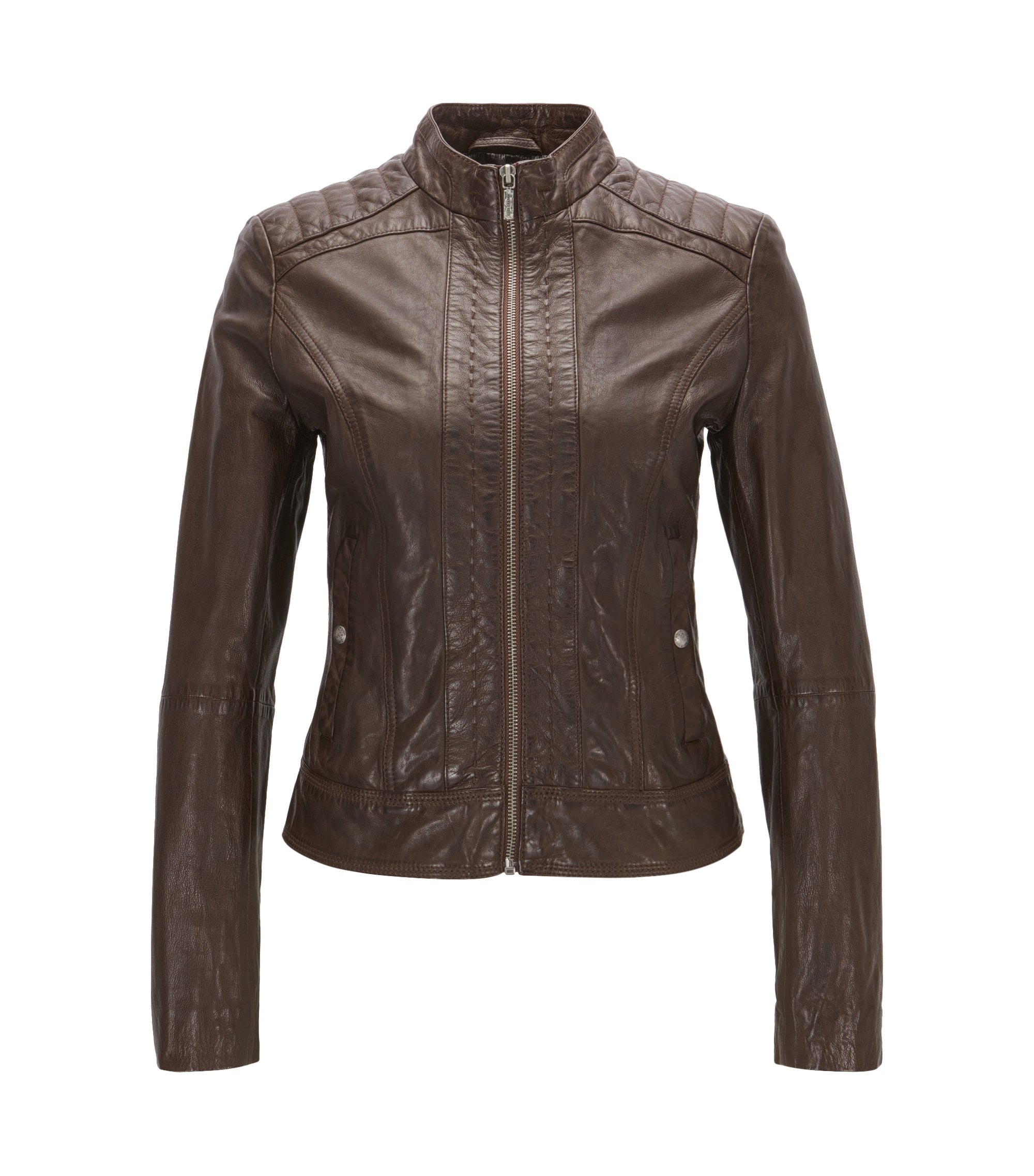 Symmetrical leather jacket in a slim fit, Dark Brown