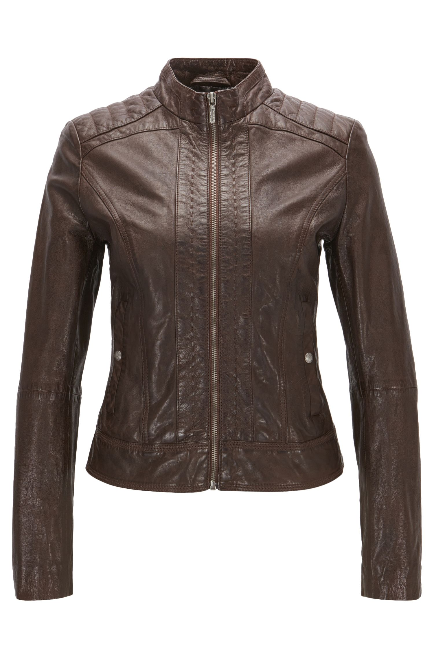 Symmetrical leather jacket in a slim fit
