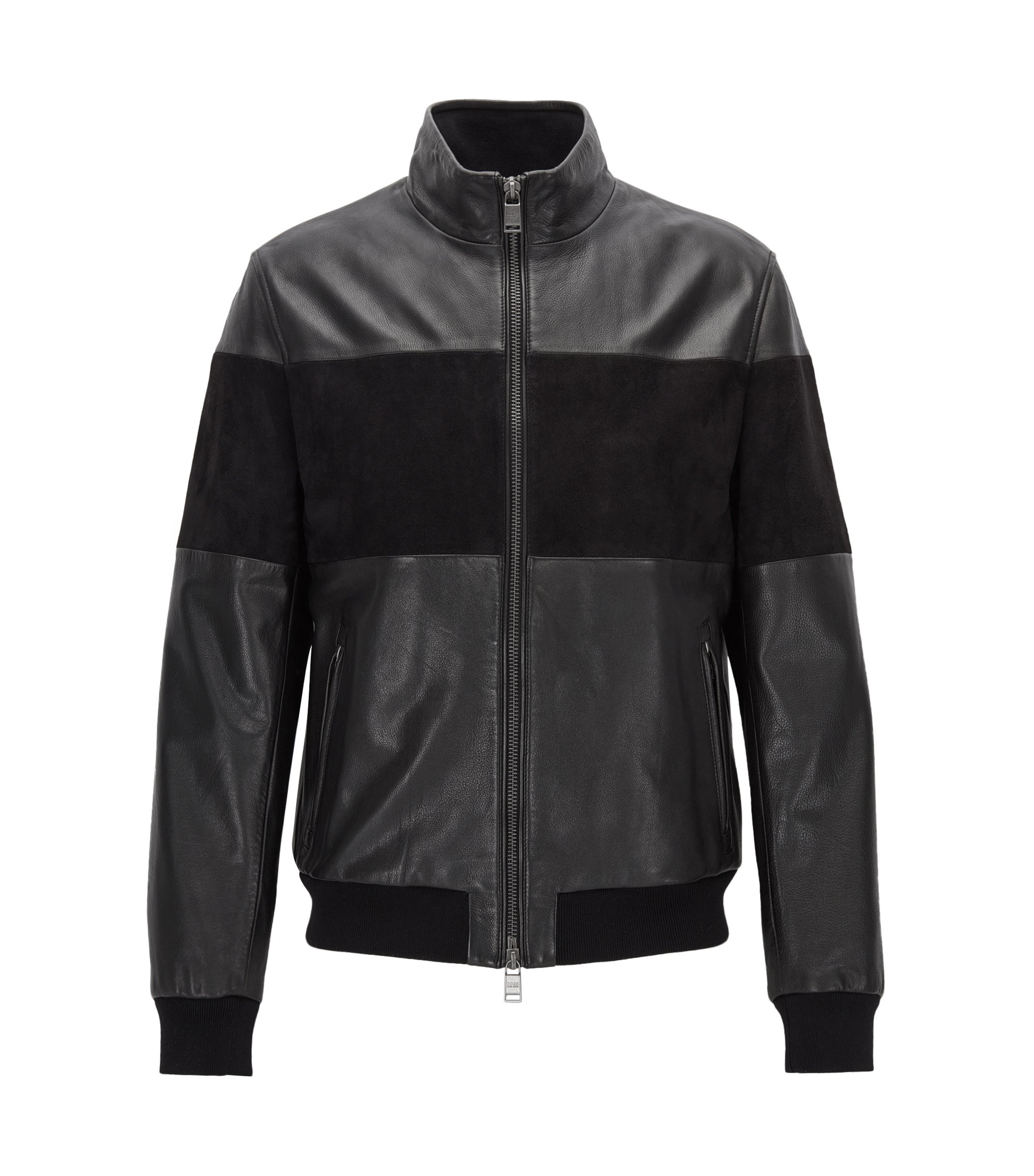 Regular-fit hybrid jacket in leather and suede, Black