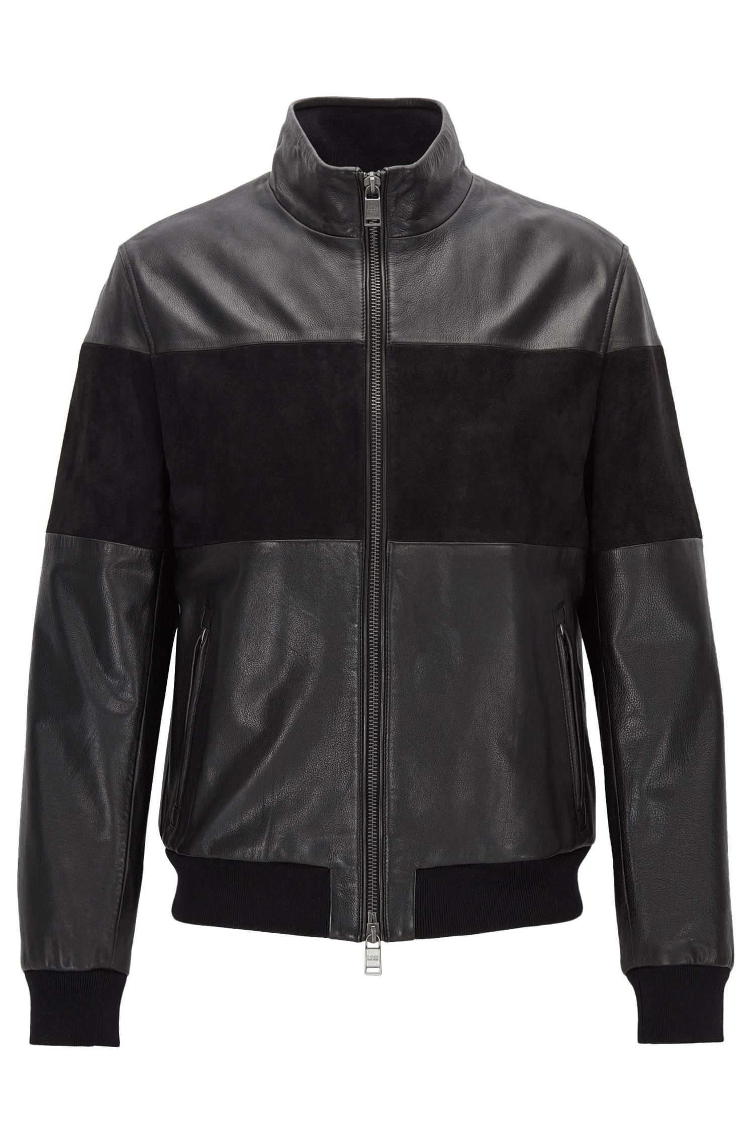 Regular-fit hybrid jacket in leather and suede