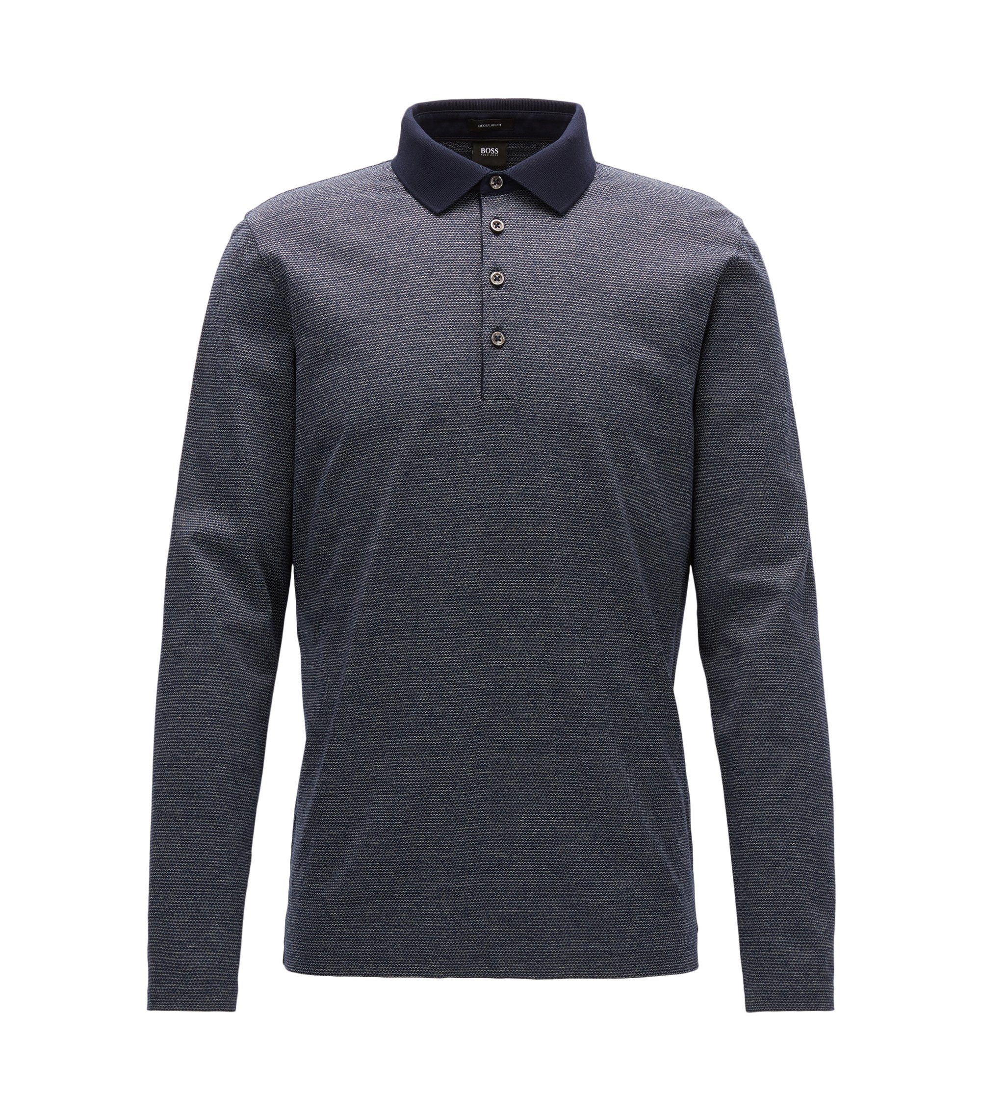 Polo regular fit in cotone mouliné mercerizzato con micro-motivo, Blu scuro
