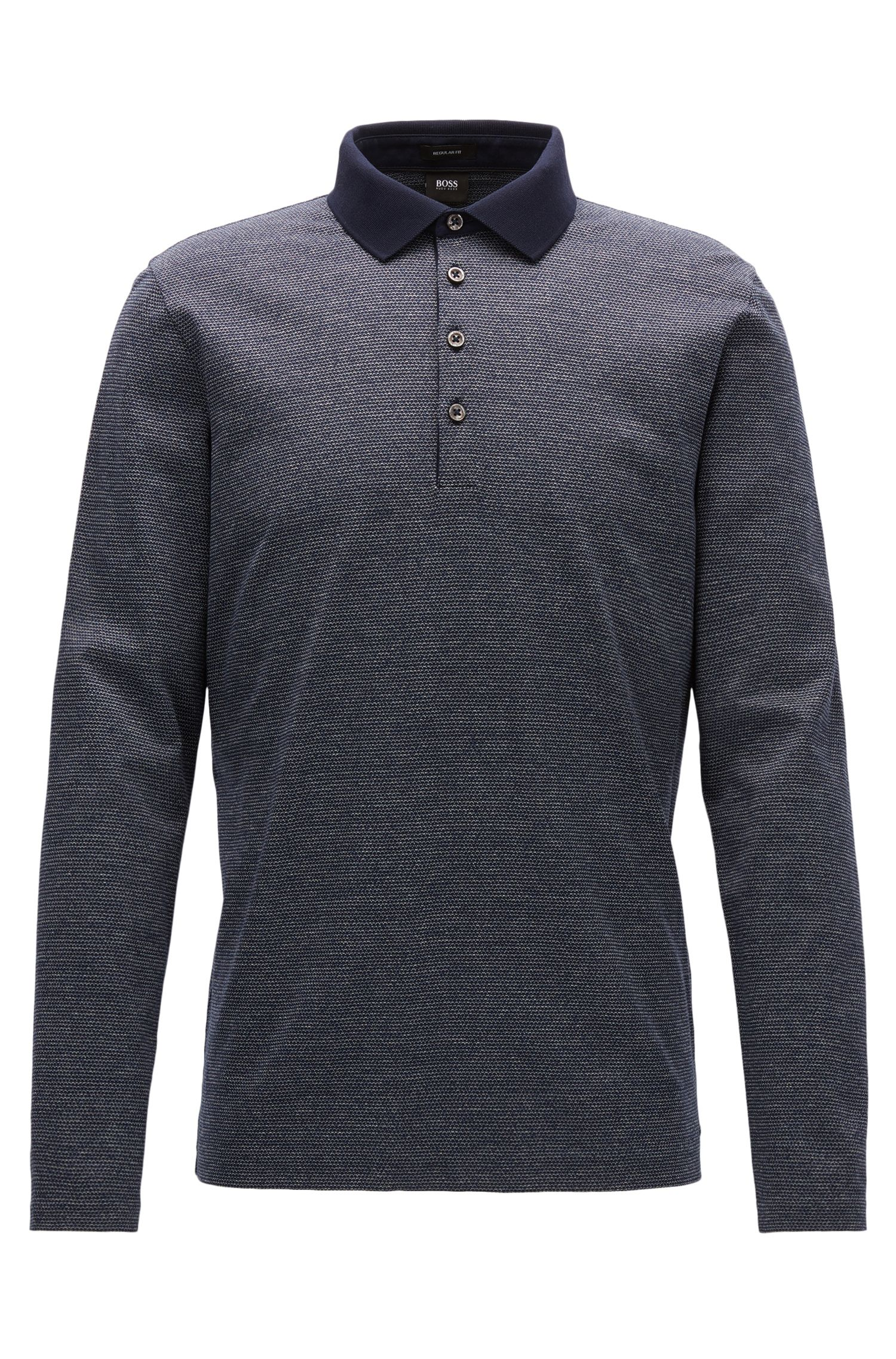 Fein gemustertes Regular-Fit Longsleeve Poloshirt aus merzerisierter Baumwolle