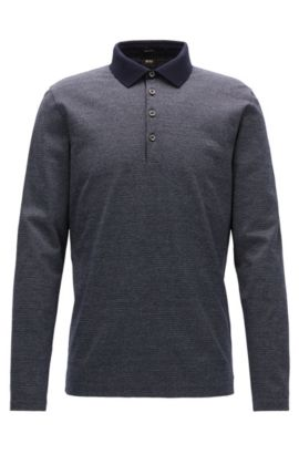 Regular-fit micro-pattern polo shirt in mercerised mouliné cotton, Dark Blue