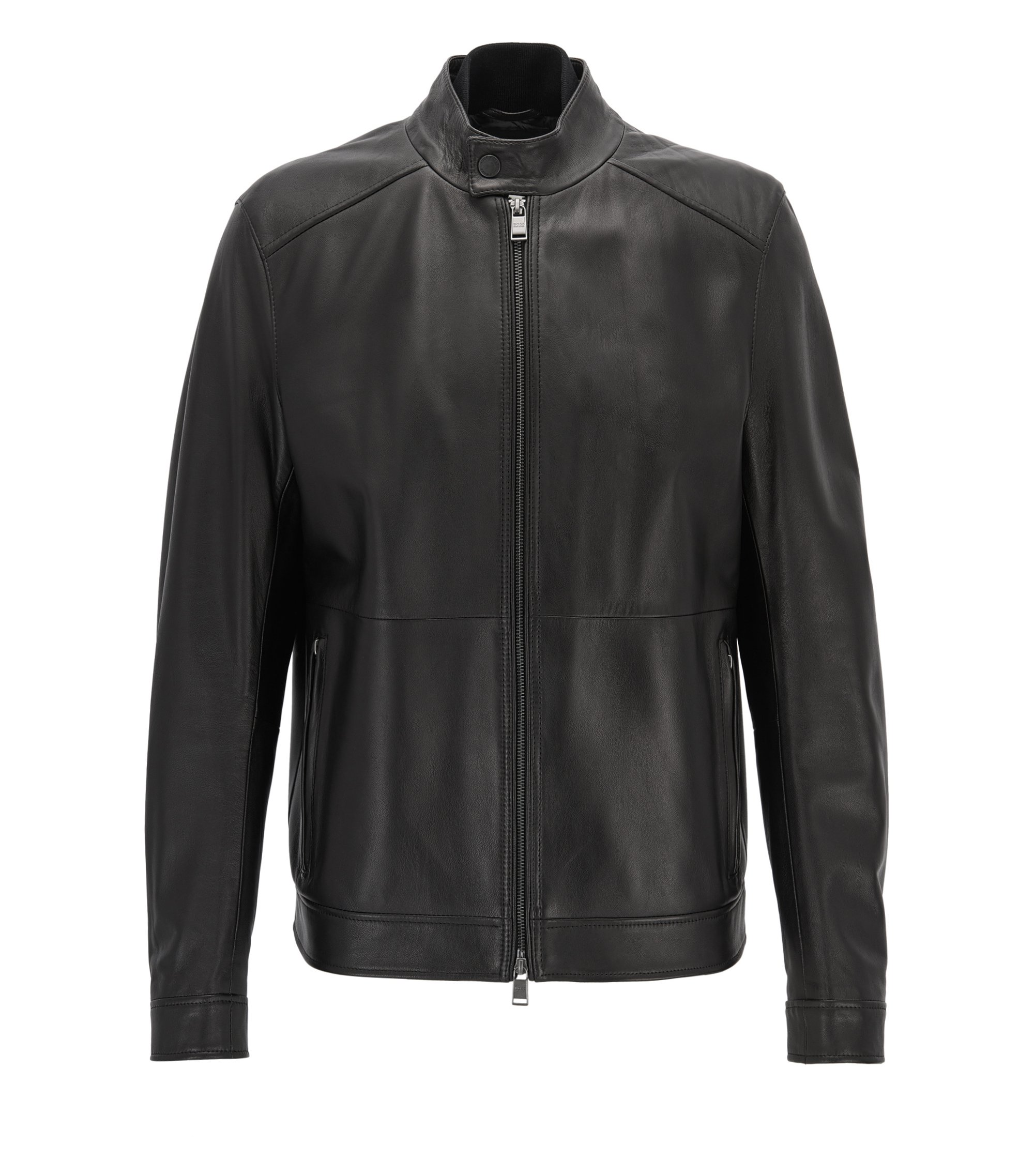 Regular-fit jacket in lambskin nappa leather, Black