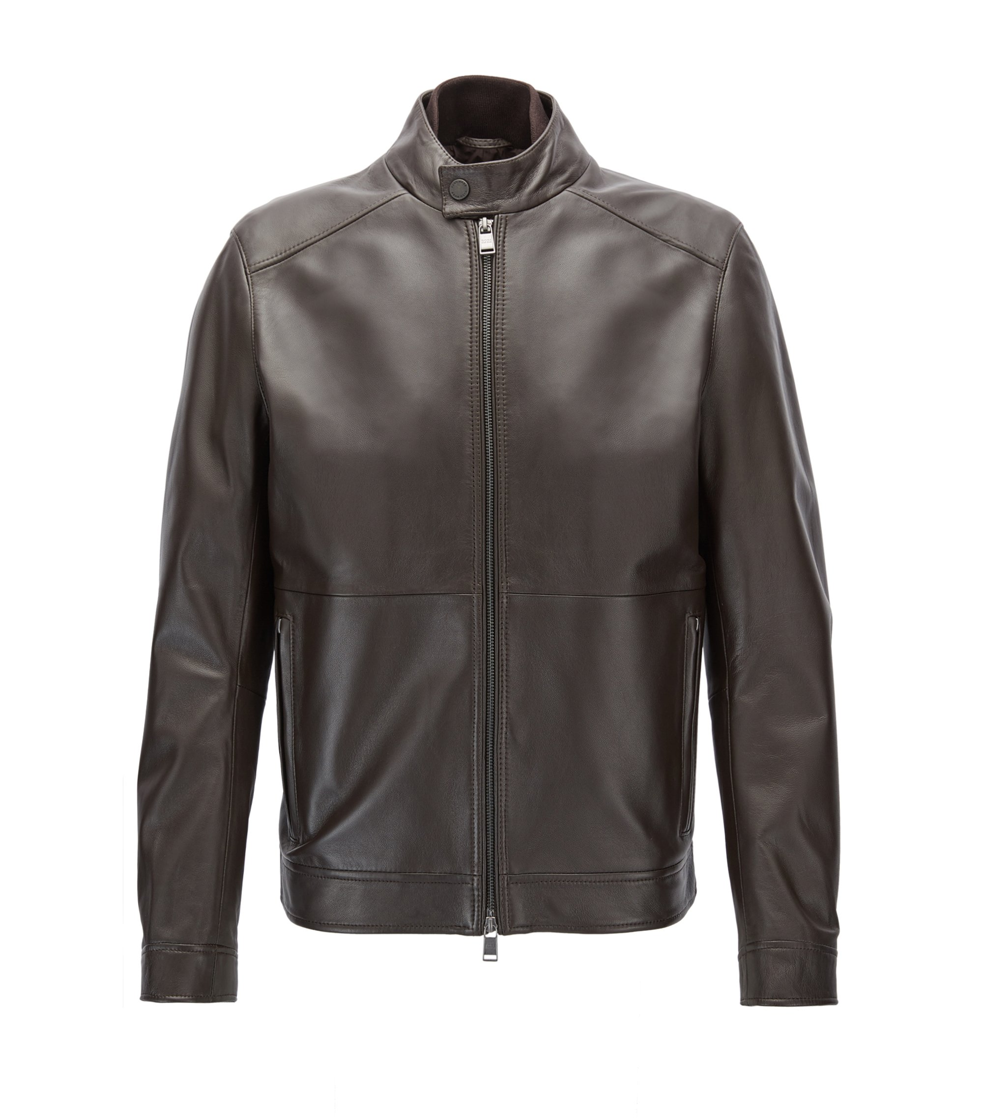 Regular-fit jacket in lambskin nappa leather, Dark Brown