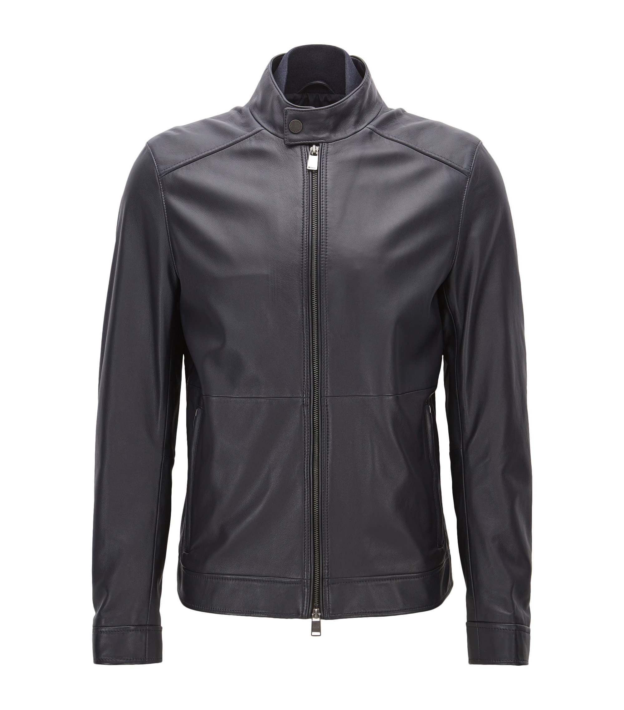 Regular-fit jacket in lambskin nappa leather, Dark Blue