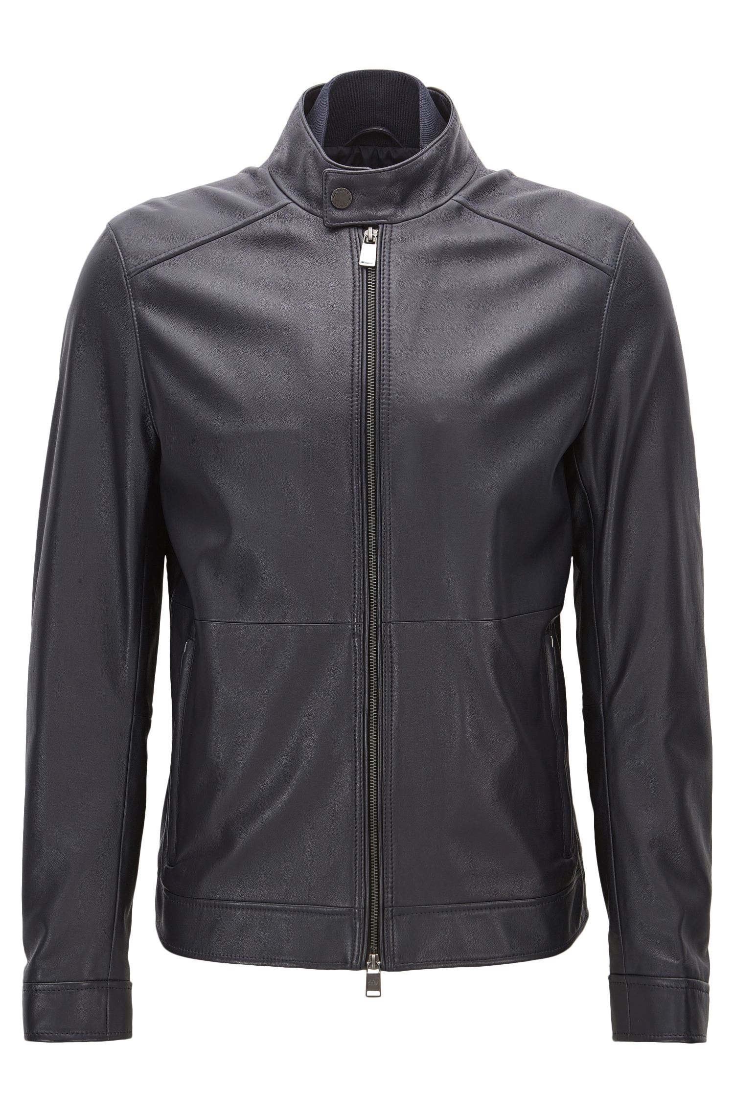 Veste Regular Fit en cuir nappa d'agneau
