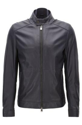 Regular-fit jas van nappa van lamsleer, Donkerblauw
