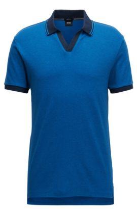 Slim-Fit Poloshirt aus zweifarbiger Pima-Baumwolle mit offenem Kragen, Dunkelblau