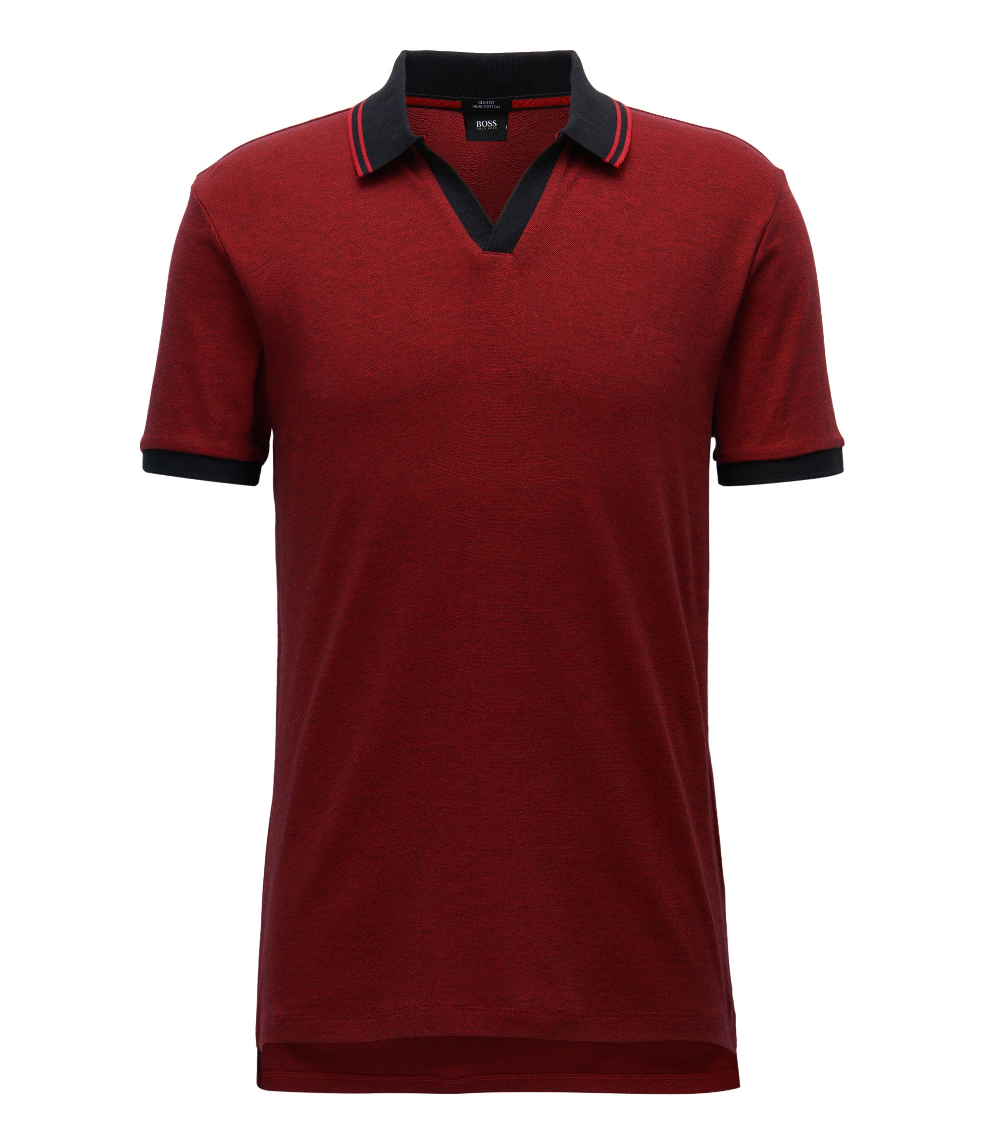 Slim-fit two-tone polo shirt in pima cotton with open collar, Red