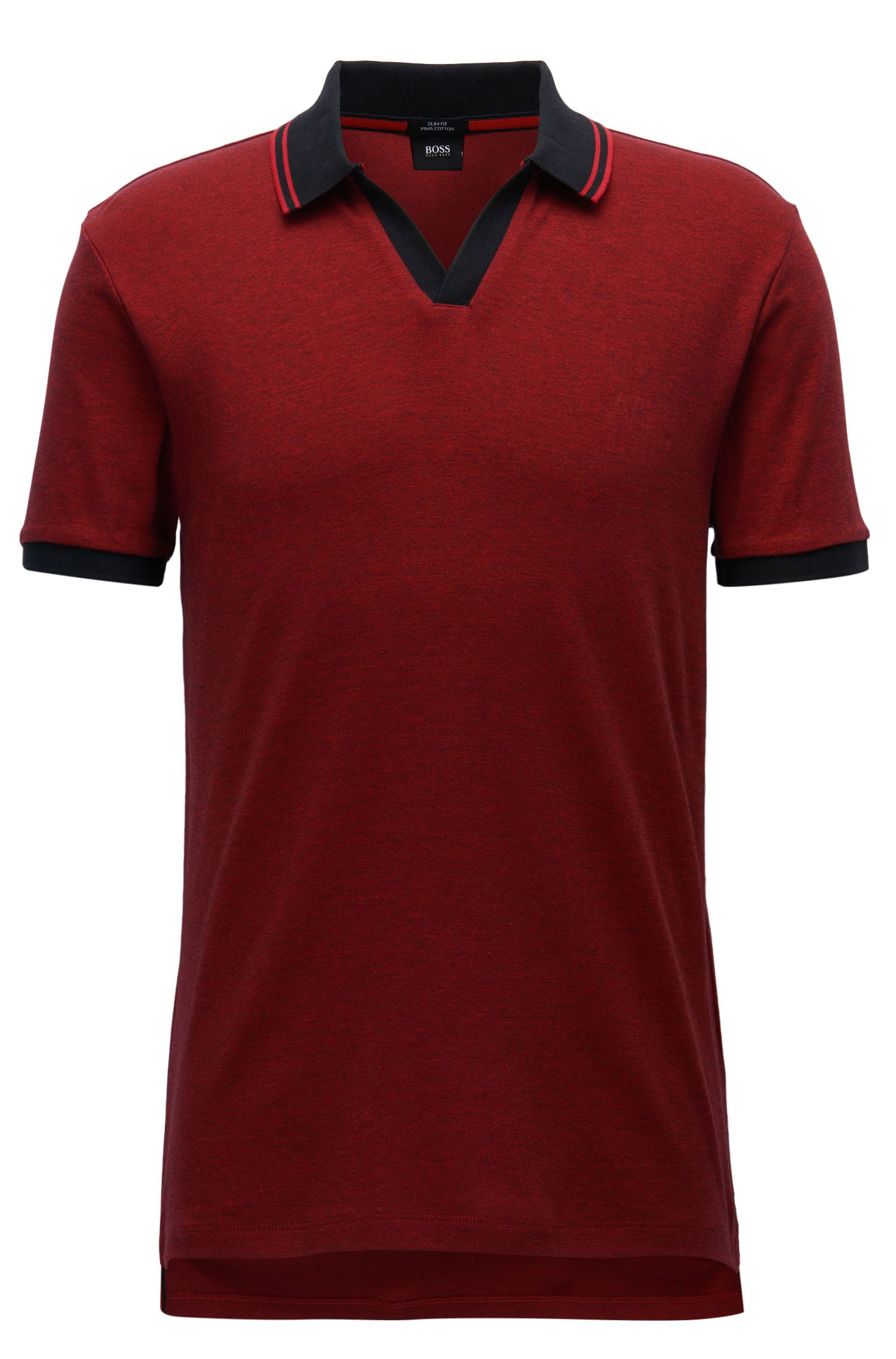 Slim-fit two-tone polo shirt in pima cotton with open collar
