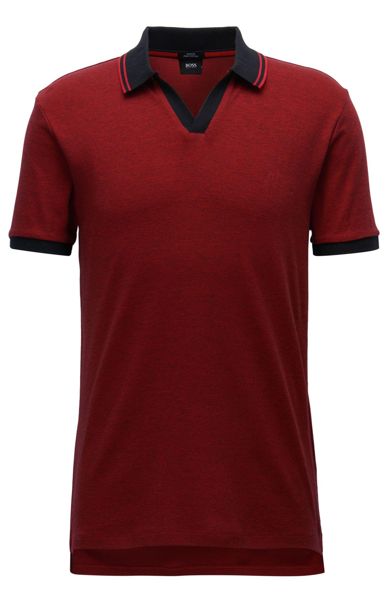 Slim-Fit Poloshirt aus zweifarbiger Pima-Baumwolle mit offenem Kragen